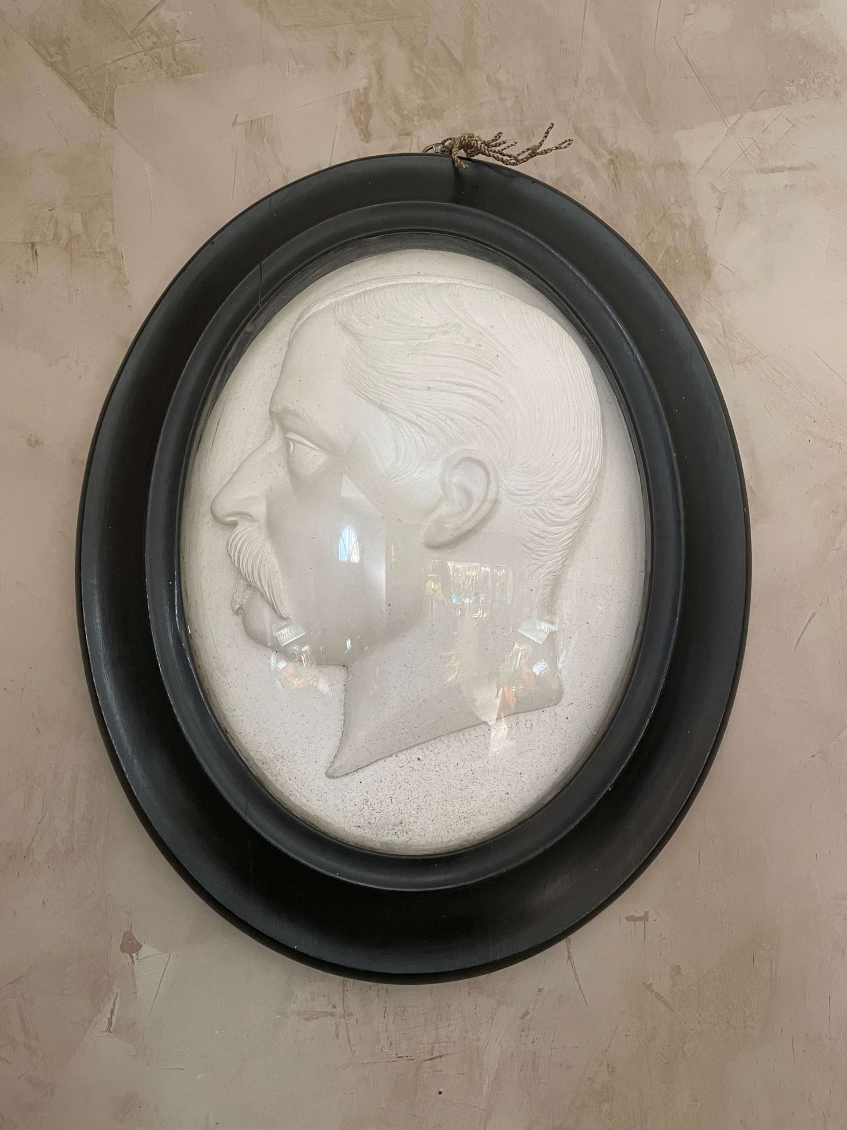 19th century Napoleon III Signed Plaster Portrait in a Cambered Frame,
