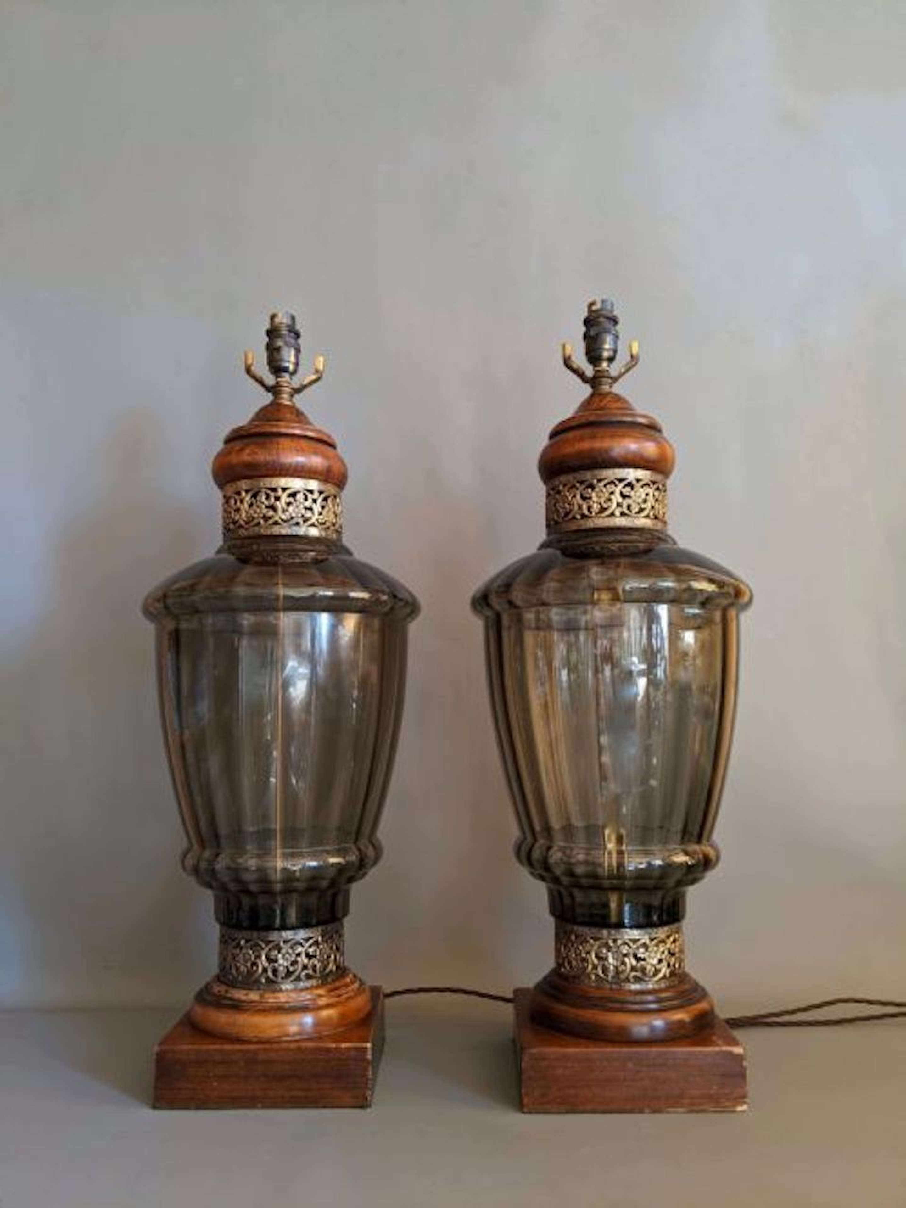 Incredible pair of Early 20th Century Smoked Glass Lamps