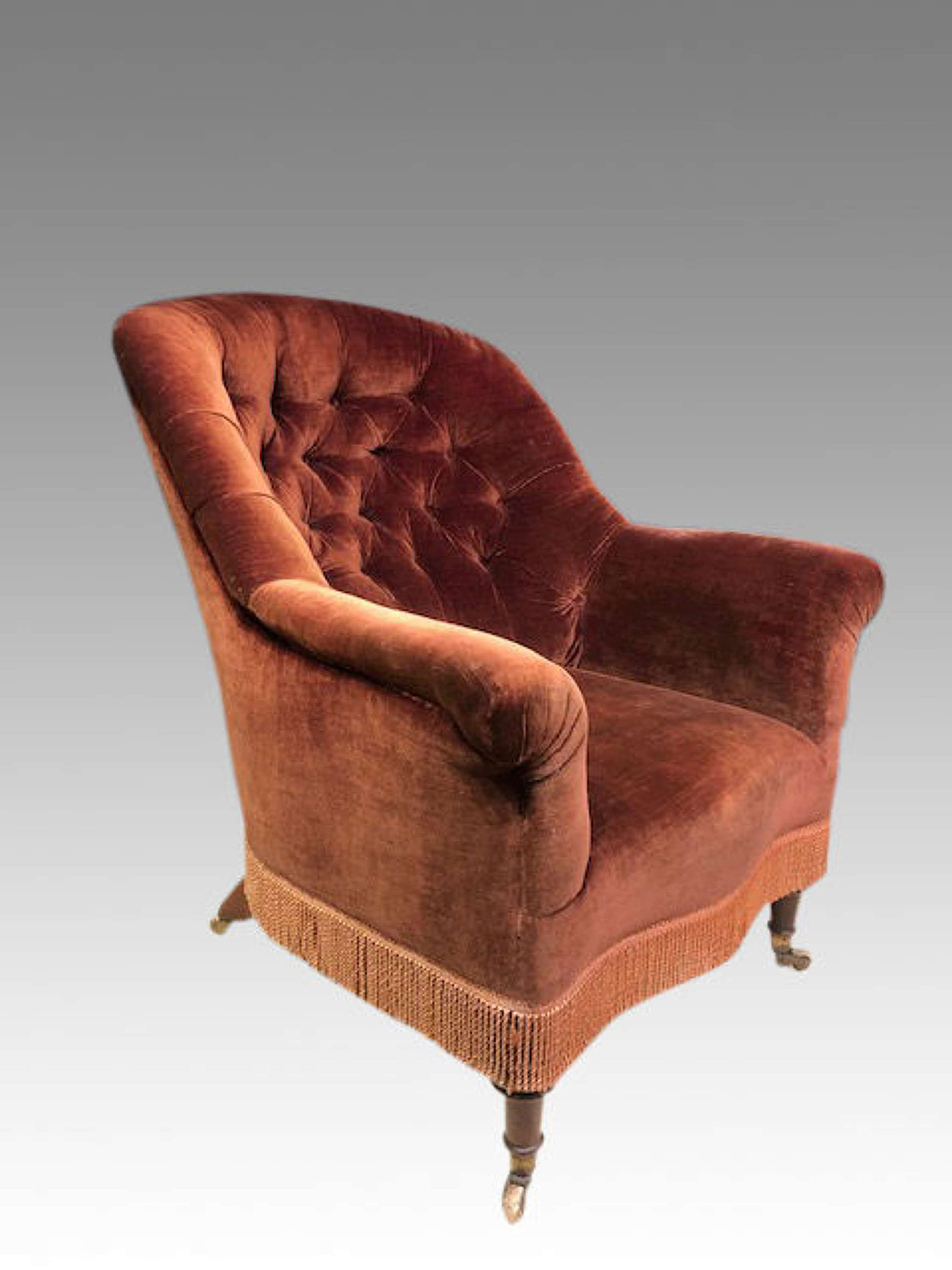 Large 19th century mahogany library chair.