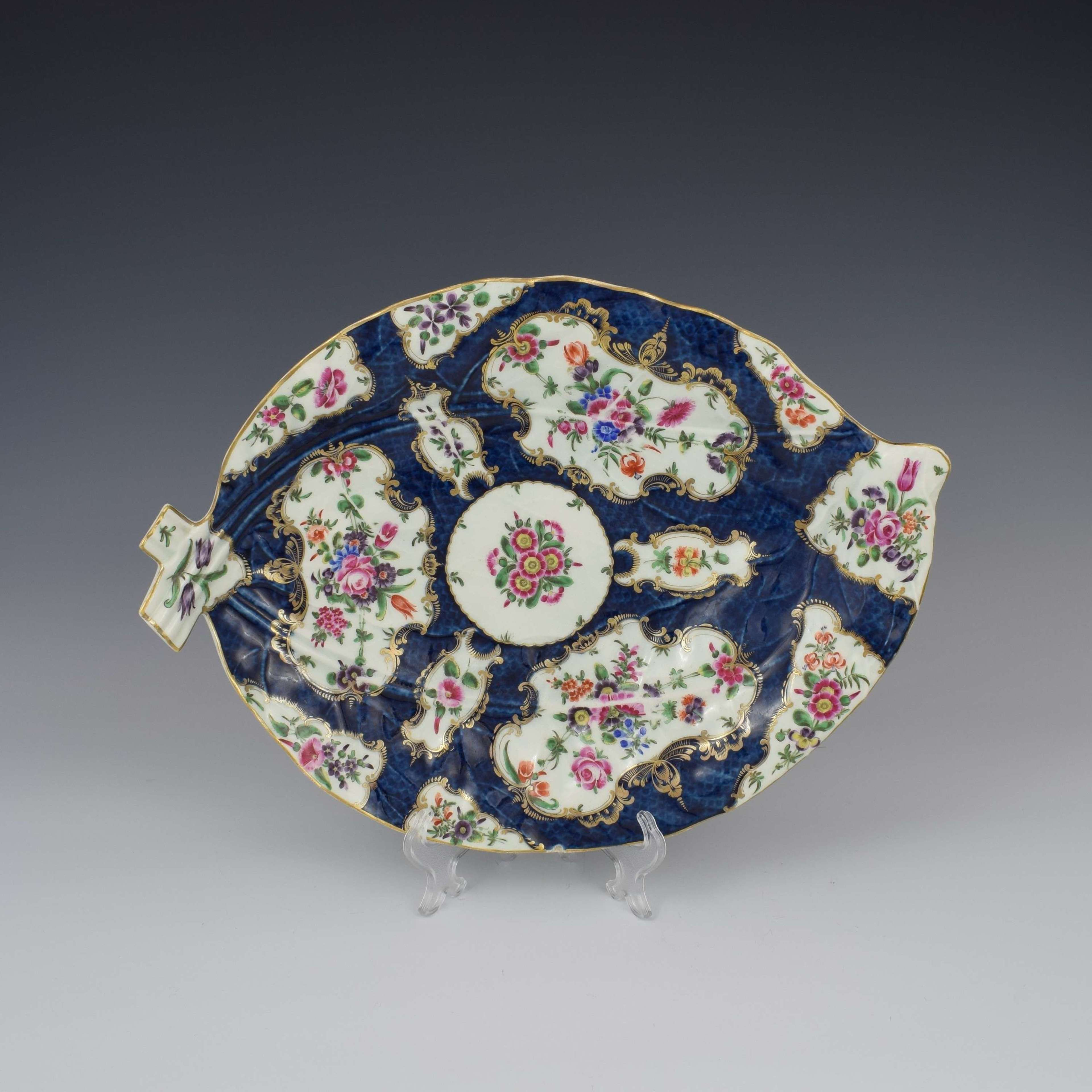 Large First Period Worcester Porcelain Blue Scale Leaf Dish c.1770