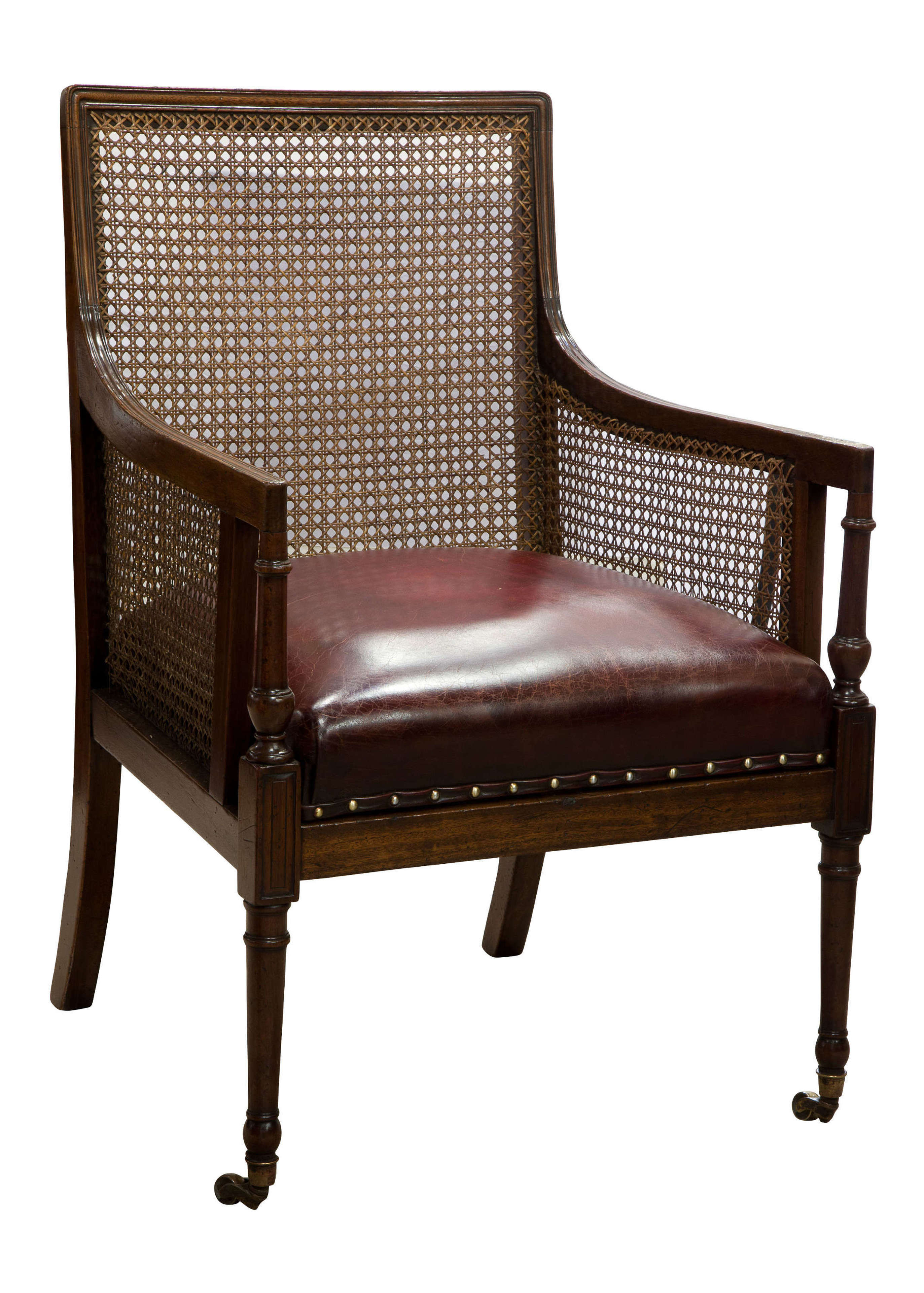 19thC Mahogany Bergere Library Arm Chair