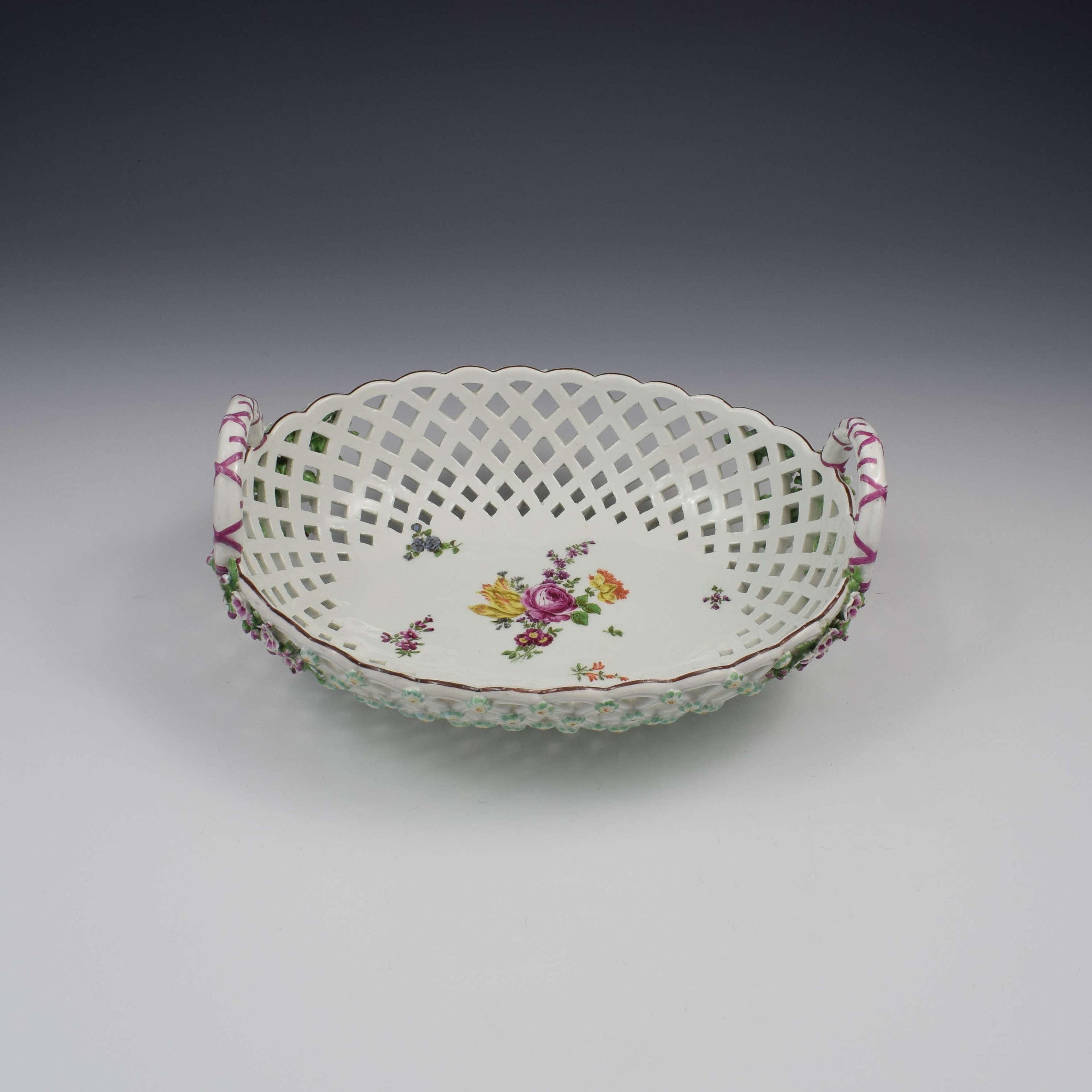 Fine Large Chelsea Red Anchor Porcelain Basket c.1750-1758