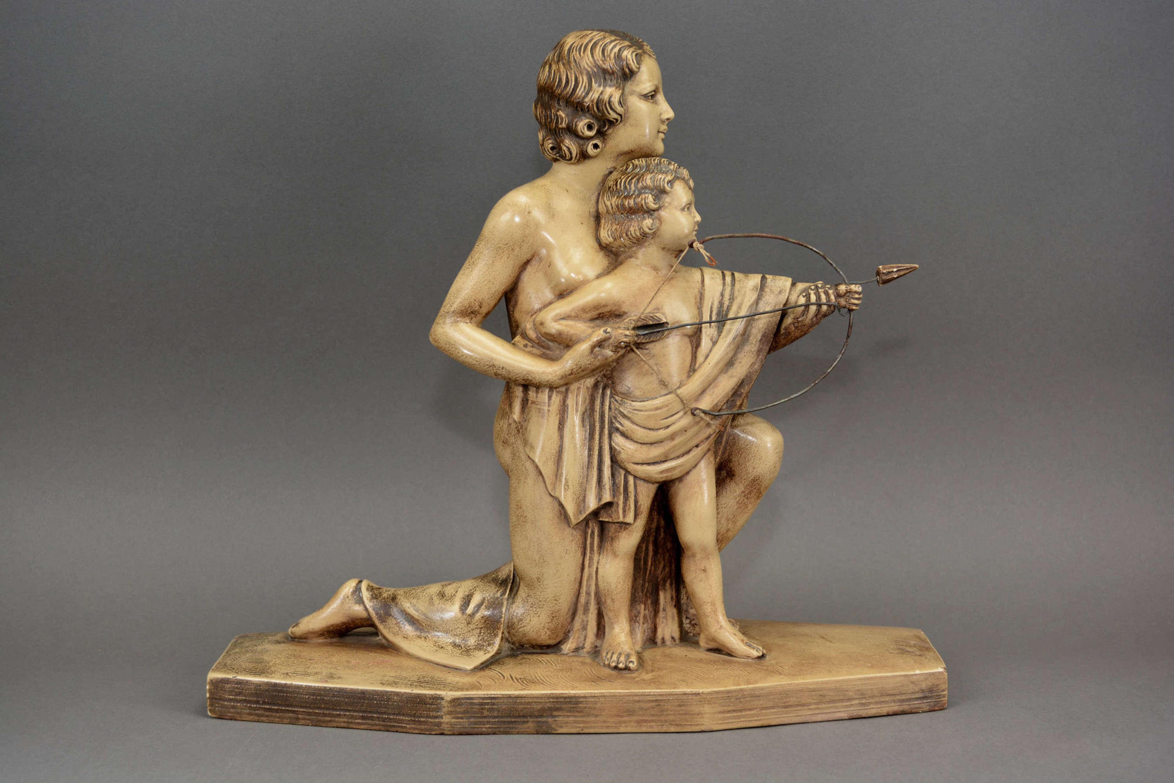 Antique Art Deco bisque sculpture of mother and child