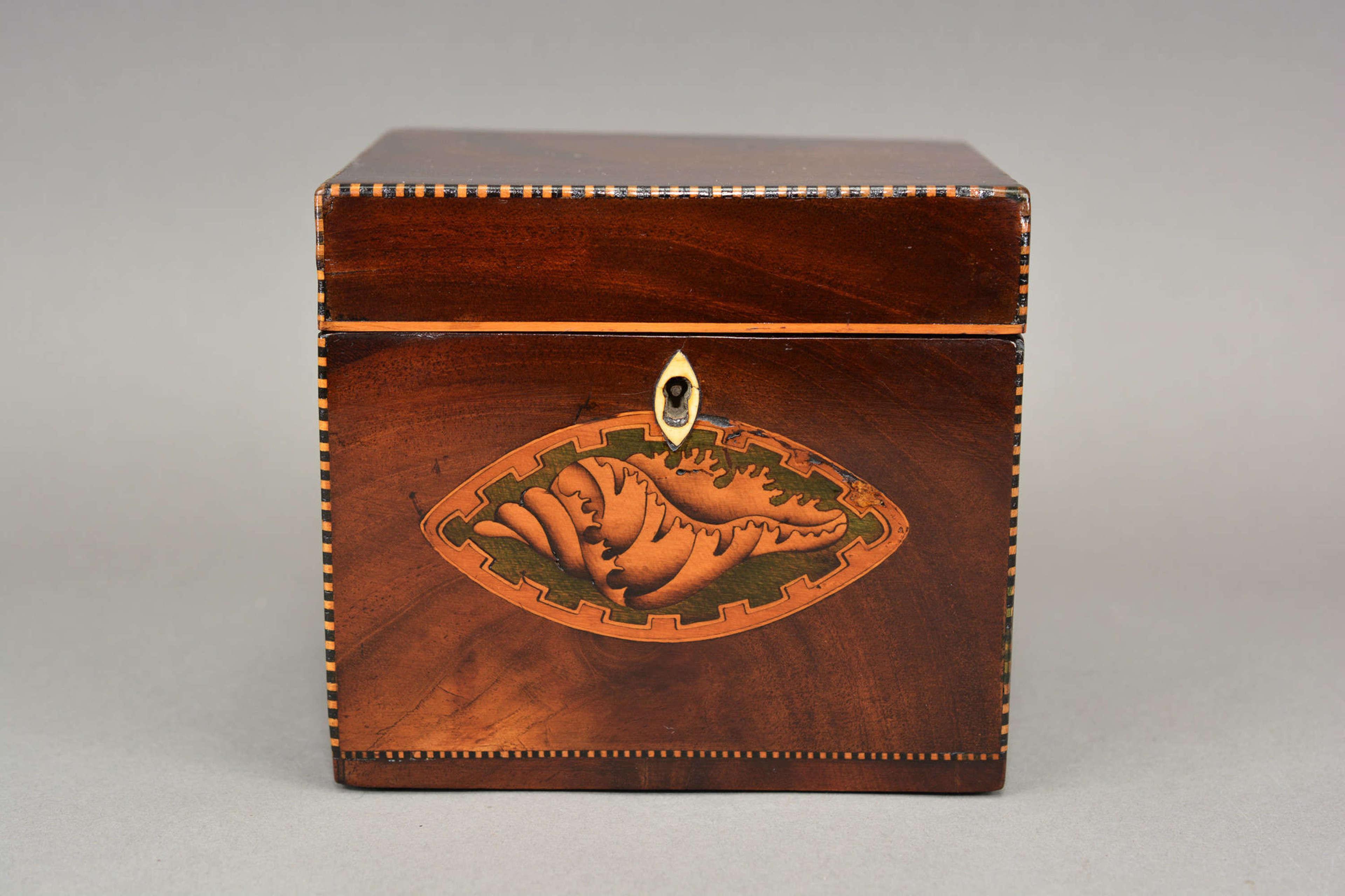 Shell inlaid Georgian mahogany tea caddy circa.1790