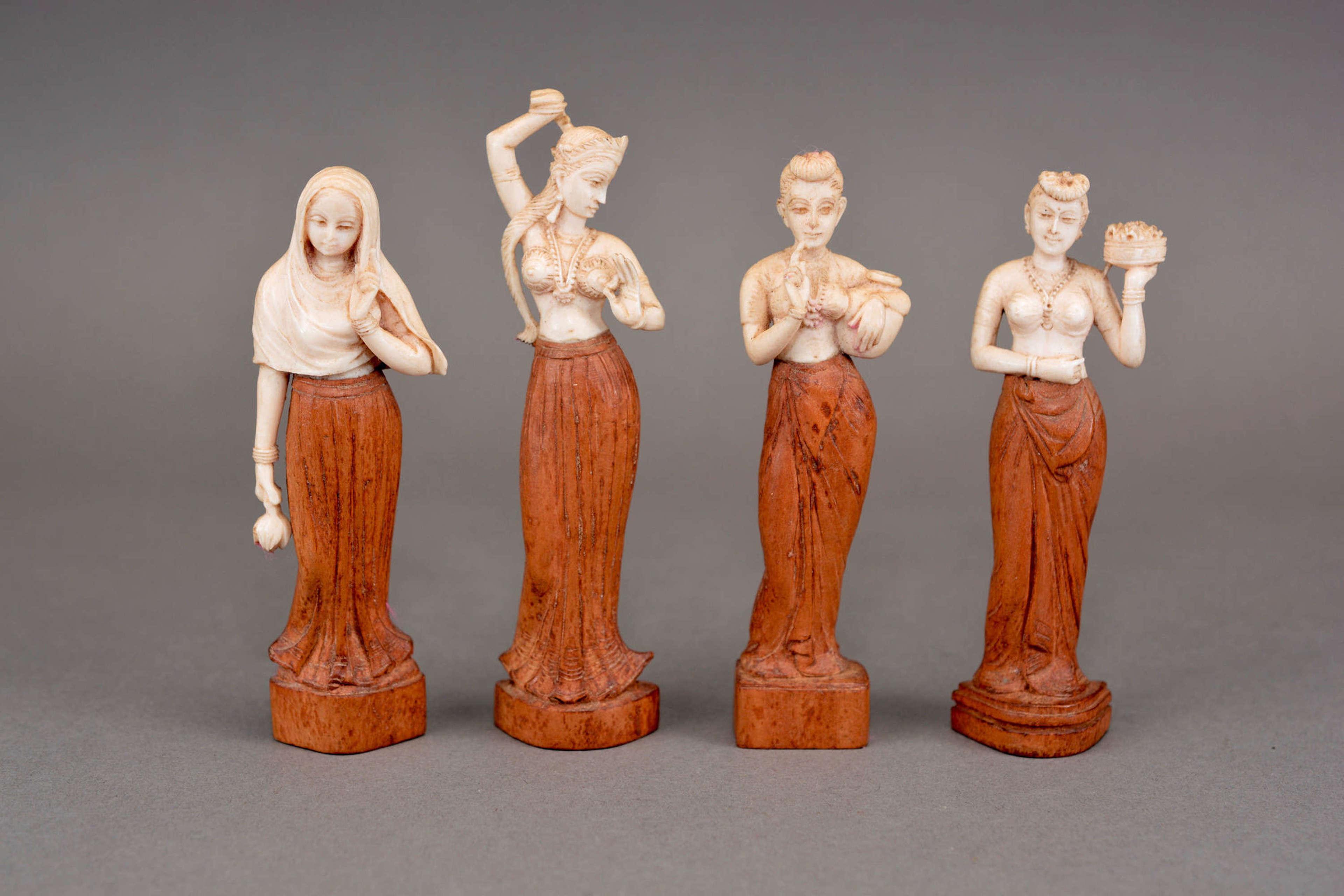 Set of four antique Indian dancer figures