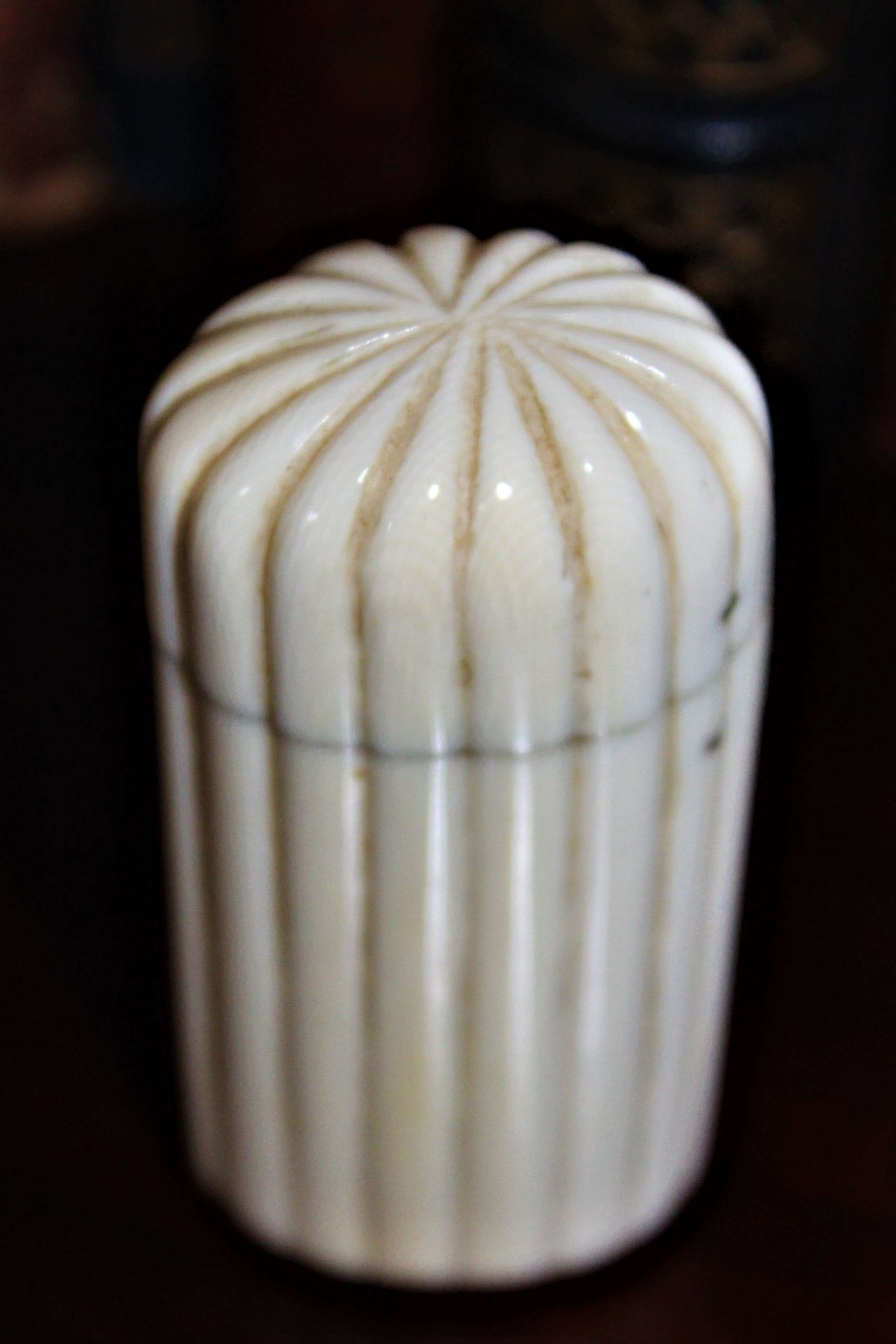 A finely carved and fluted ivory vesta case with a well sprung lid