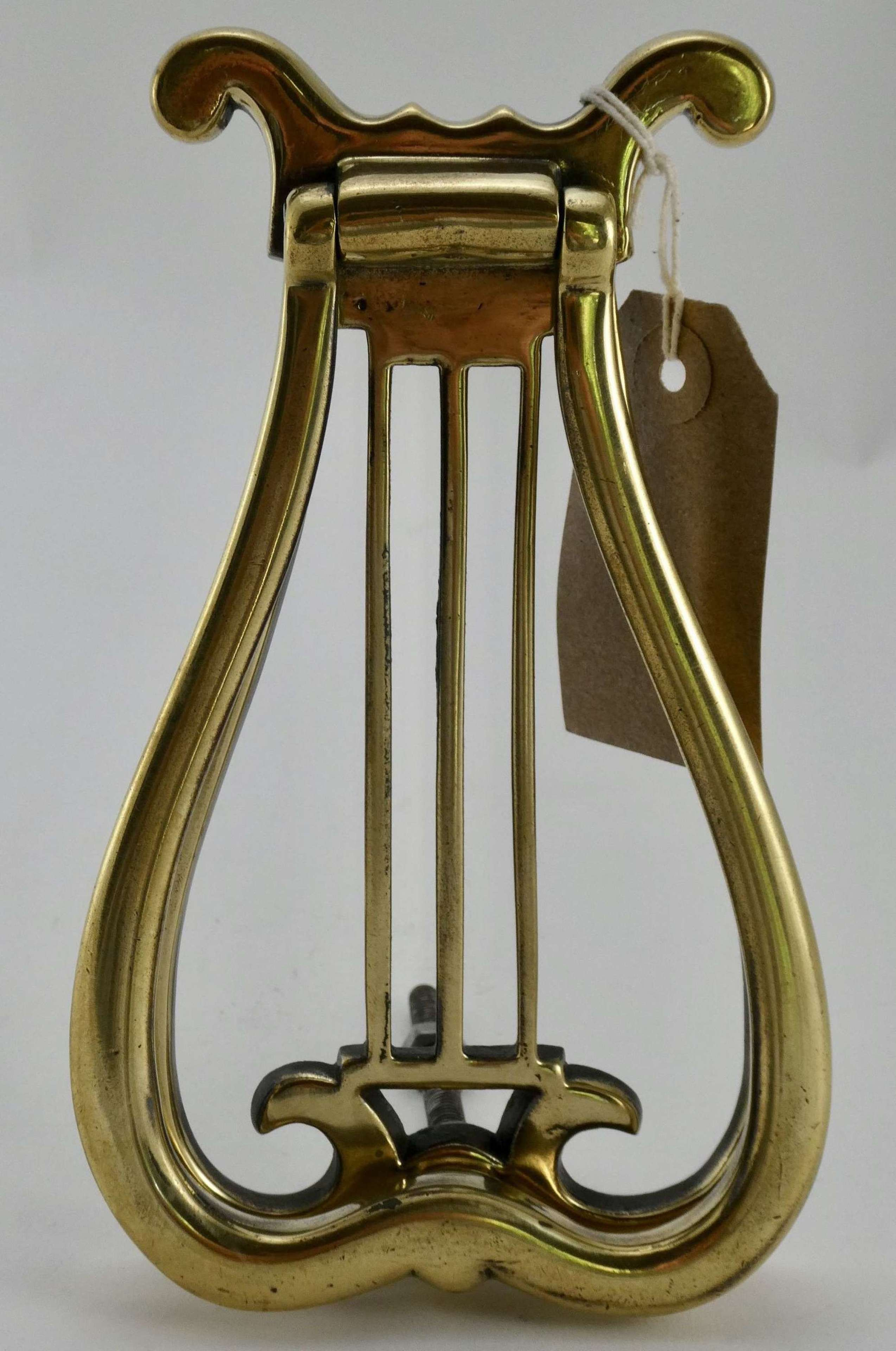 Victorian Solid Brass Lyre Door Knocker