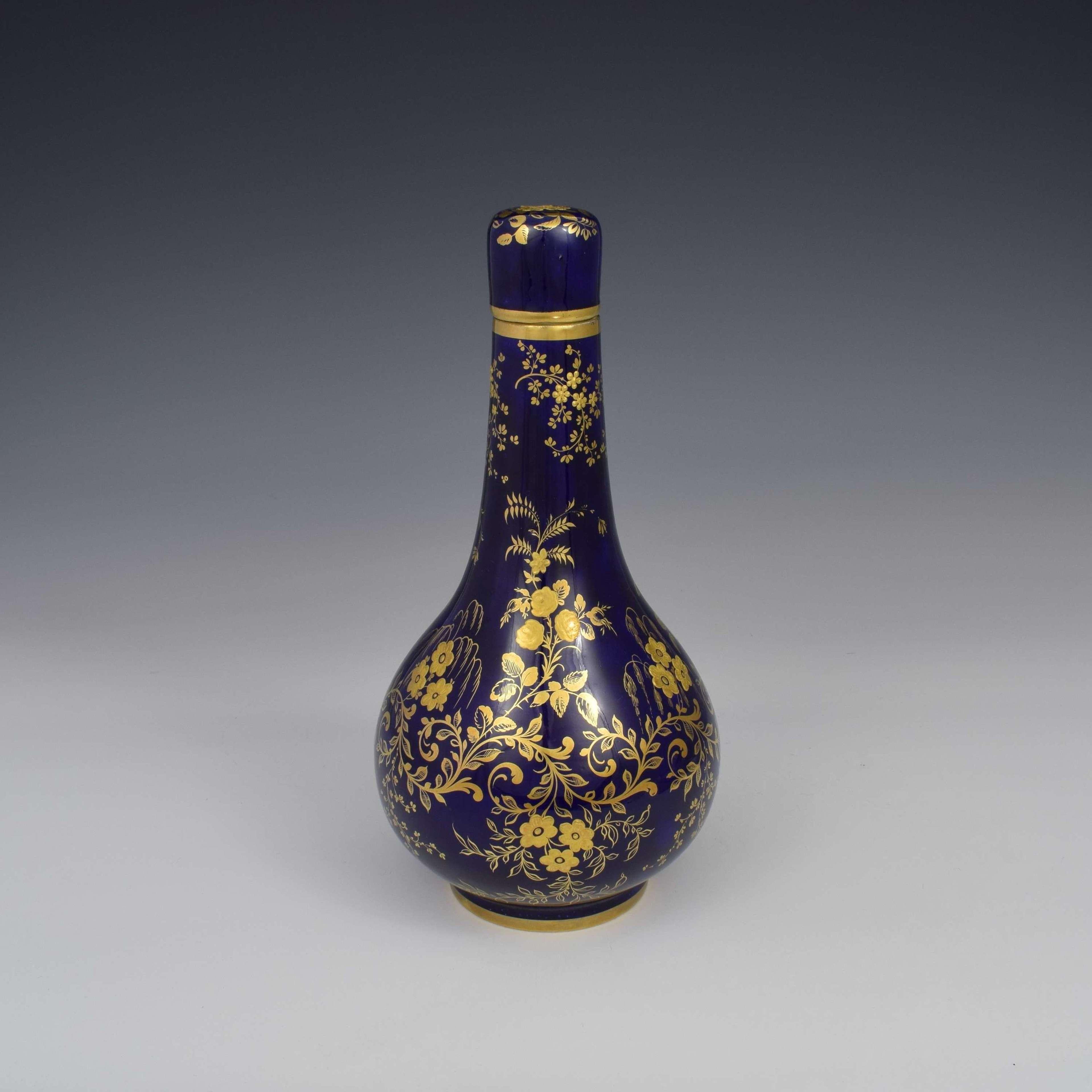 Derby Porcelain Sevres Style Bottle Vase & Cover c.1835
