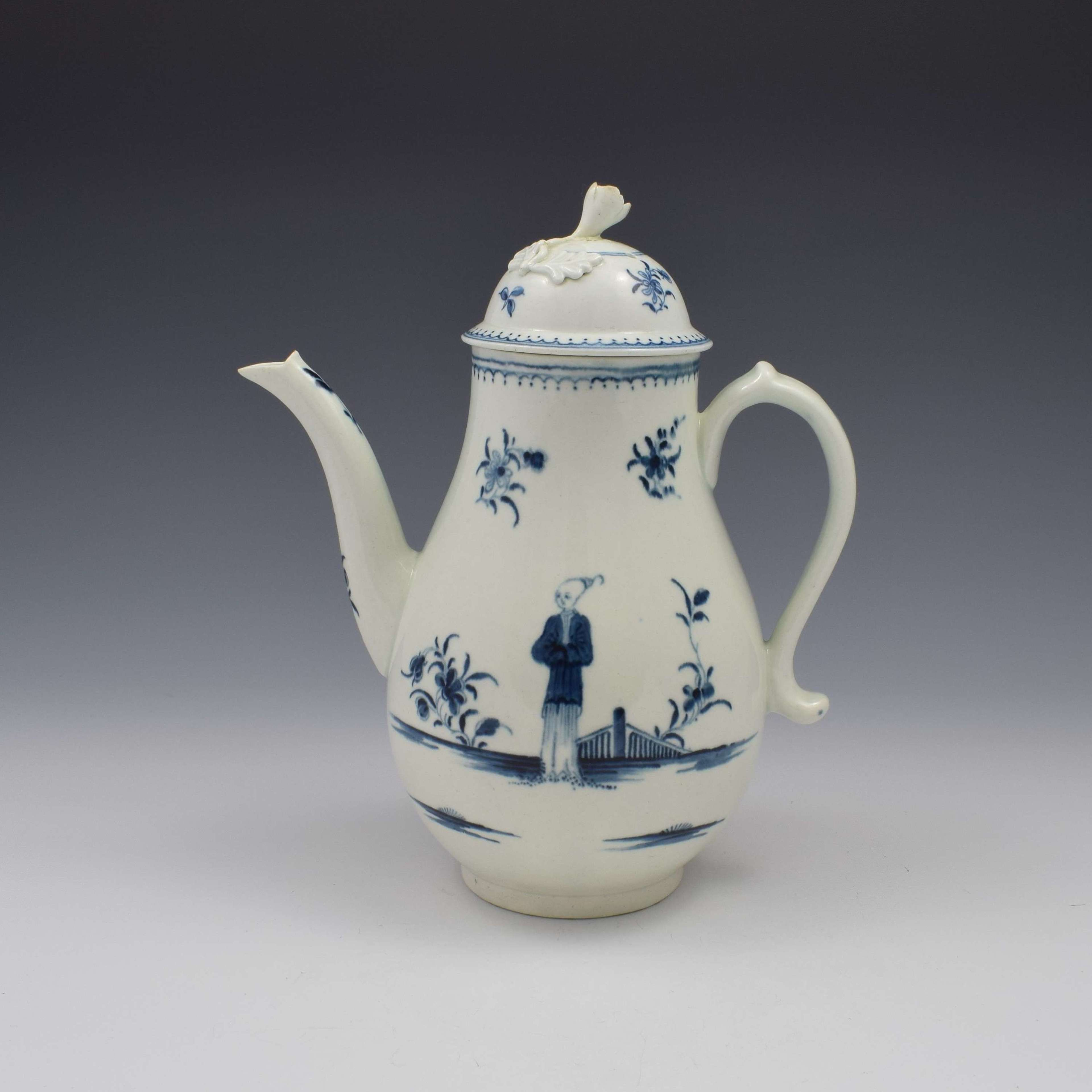 First Period Worcester Porcelain Waiting Chinaman Coffee Pot & Cover