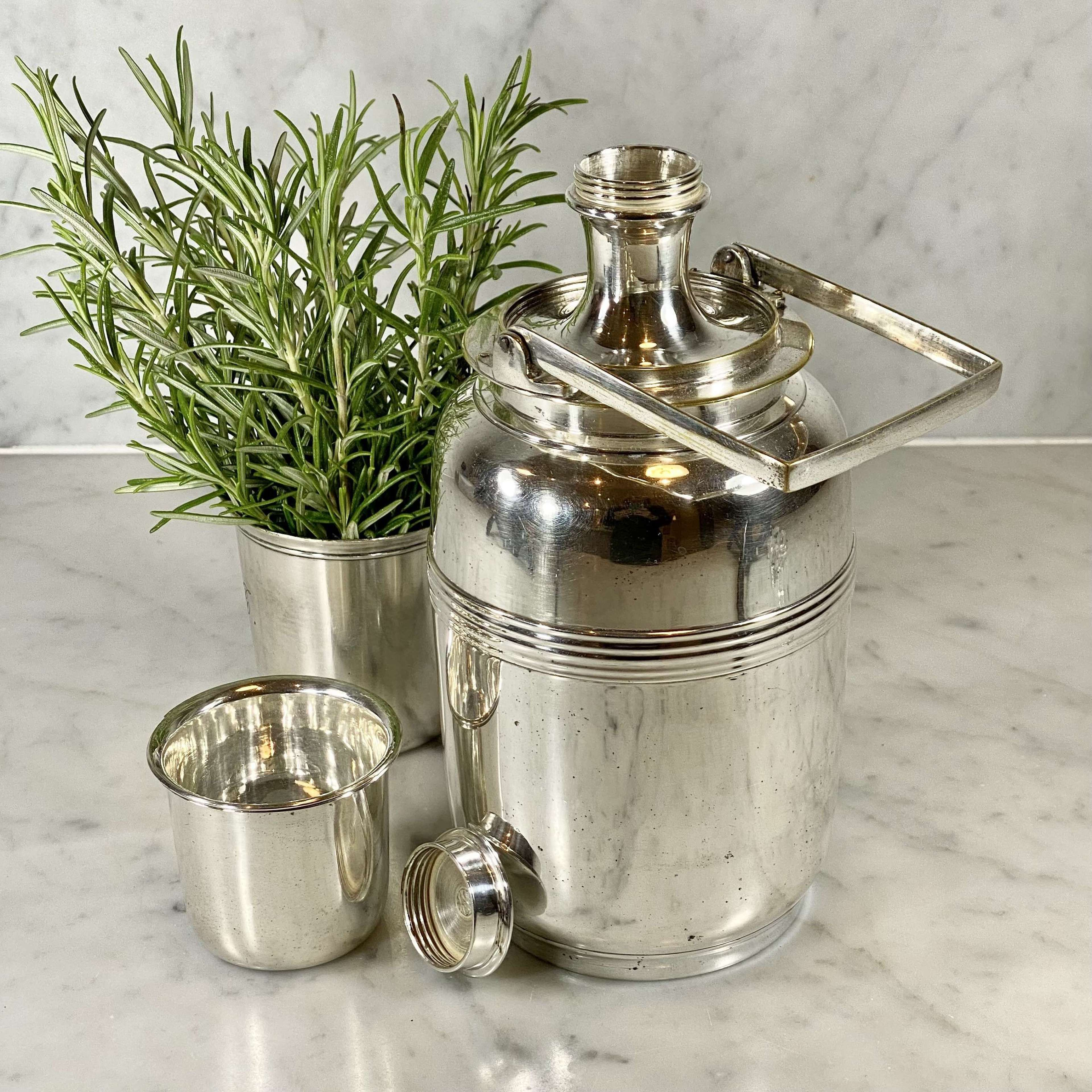 Art Deco silver plated travelling flask or cocktail shaker set