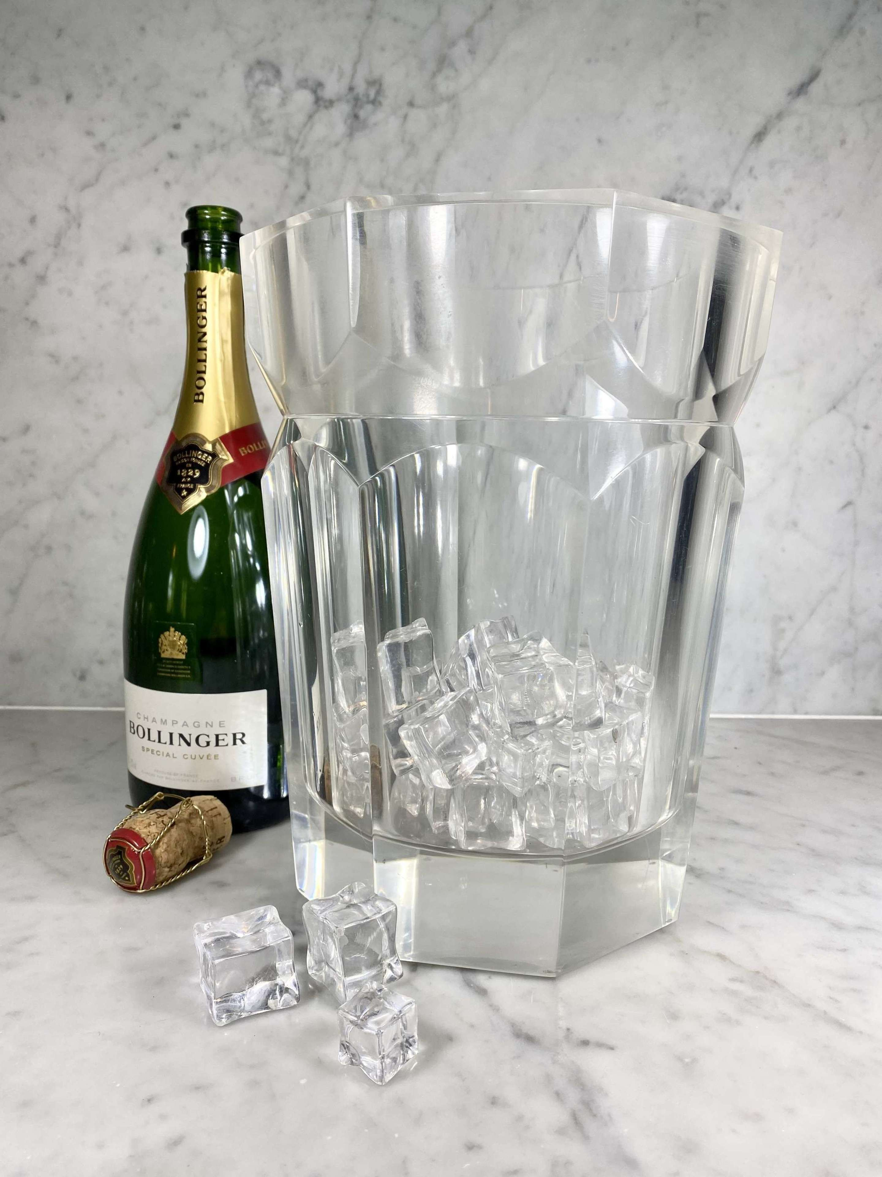 Large lucite champagne wine bucket cooler