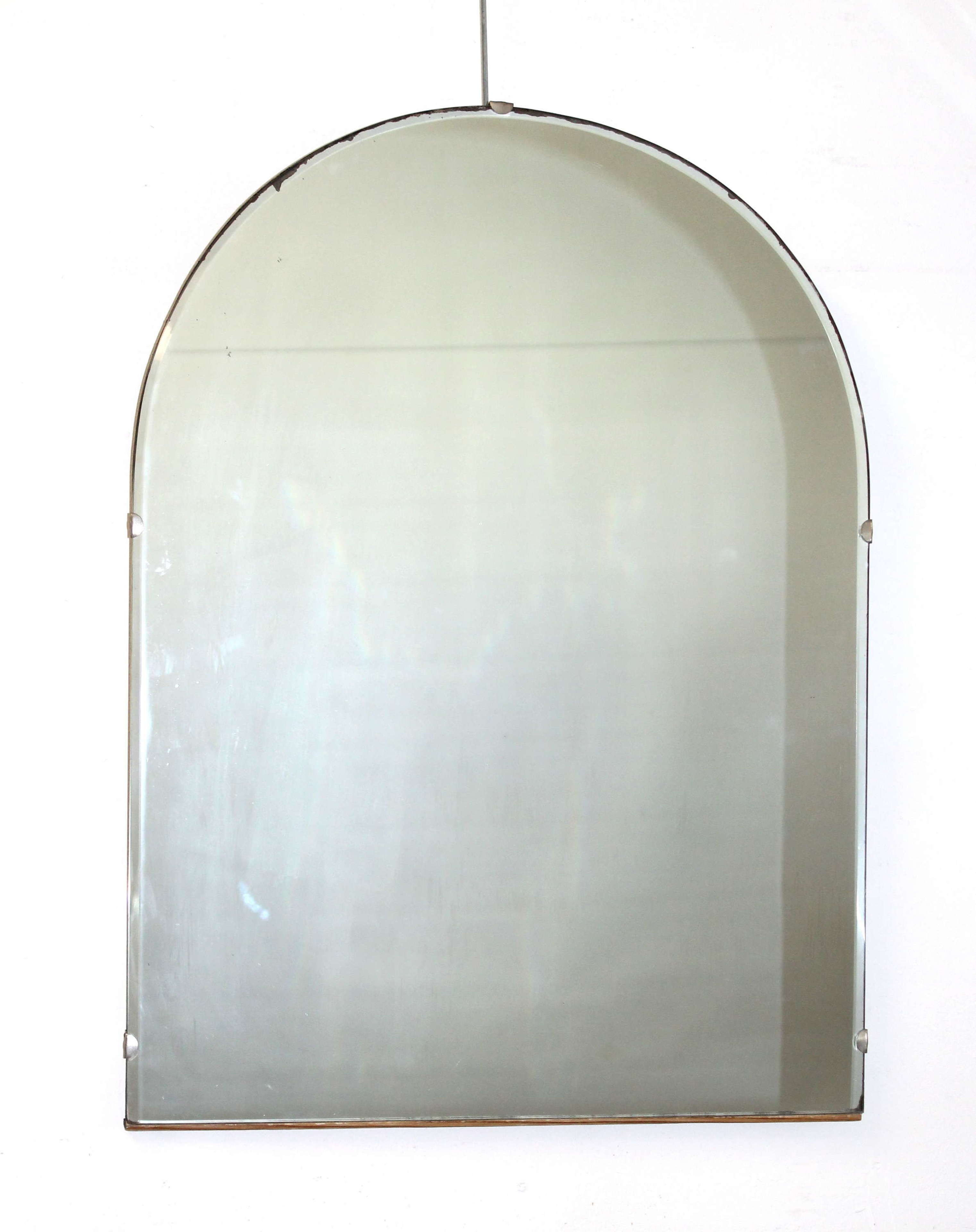 Vintage, frameless, arched mirror
