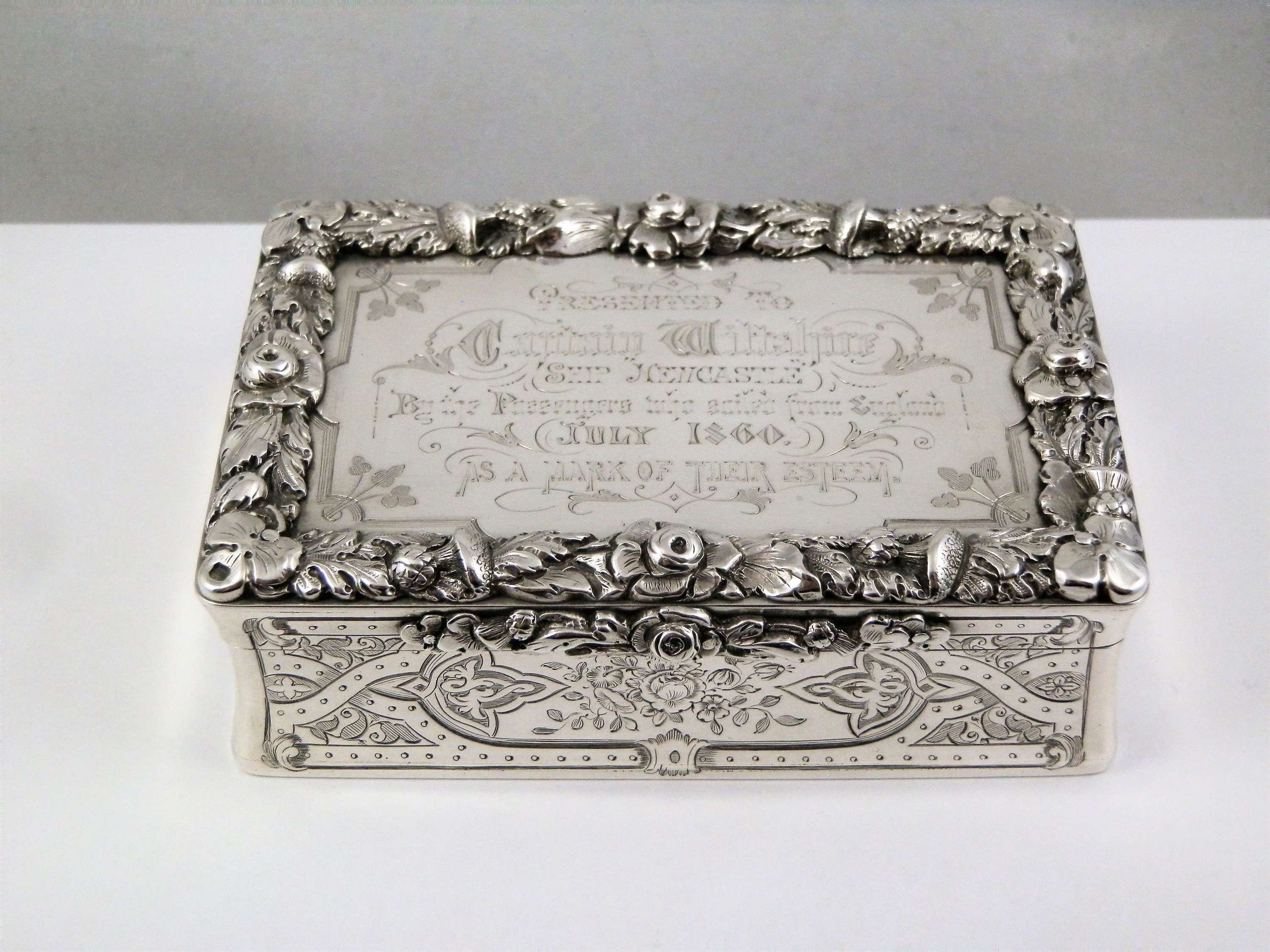 Large Victorian silver snuff box, Rawlings and Summers, London 1861