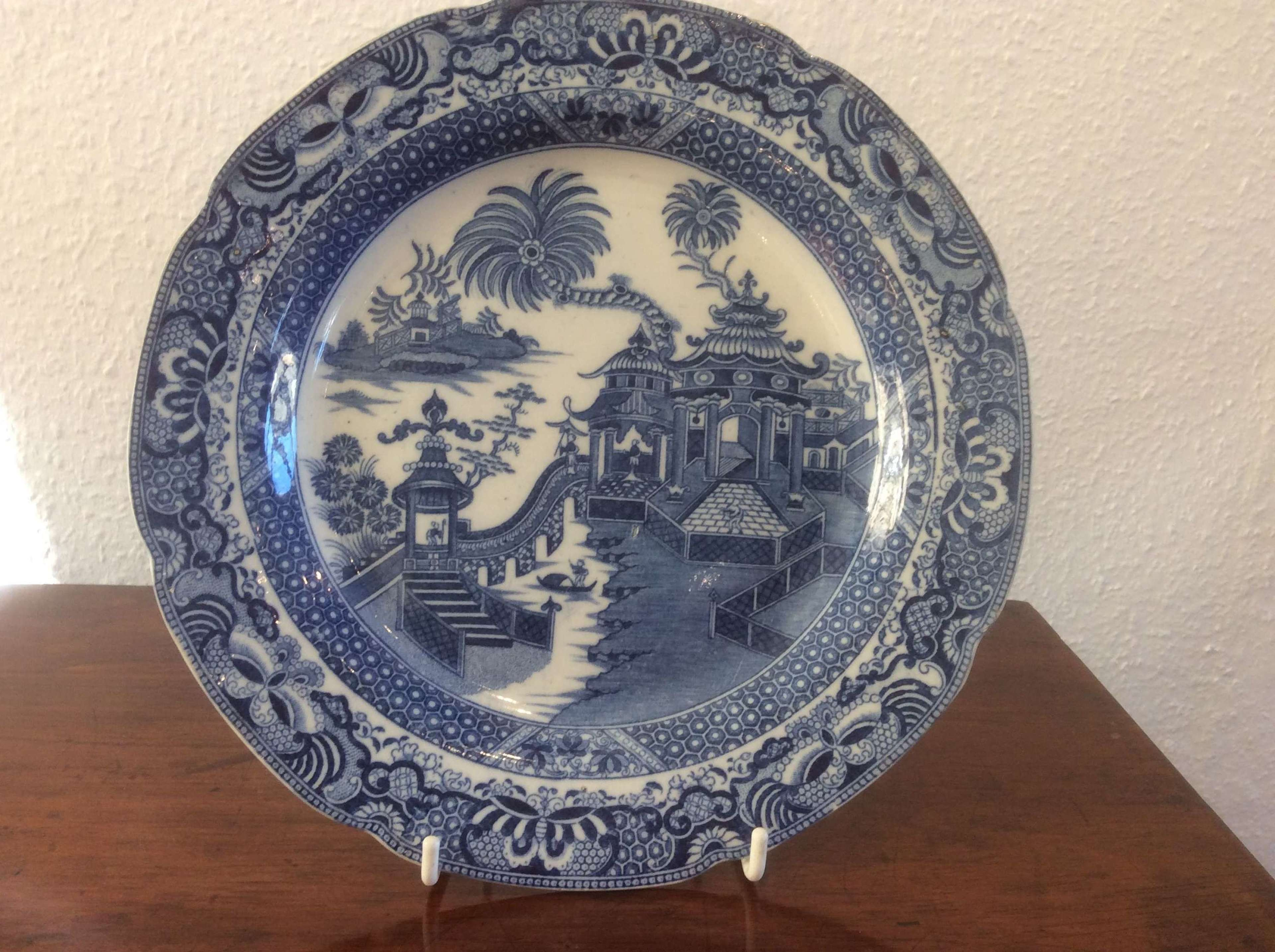 Early 19th Century blue and white transfer print