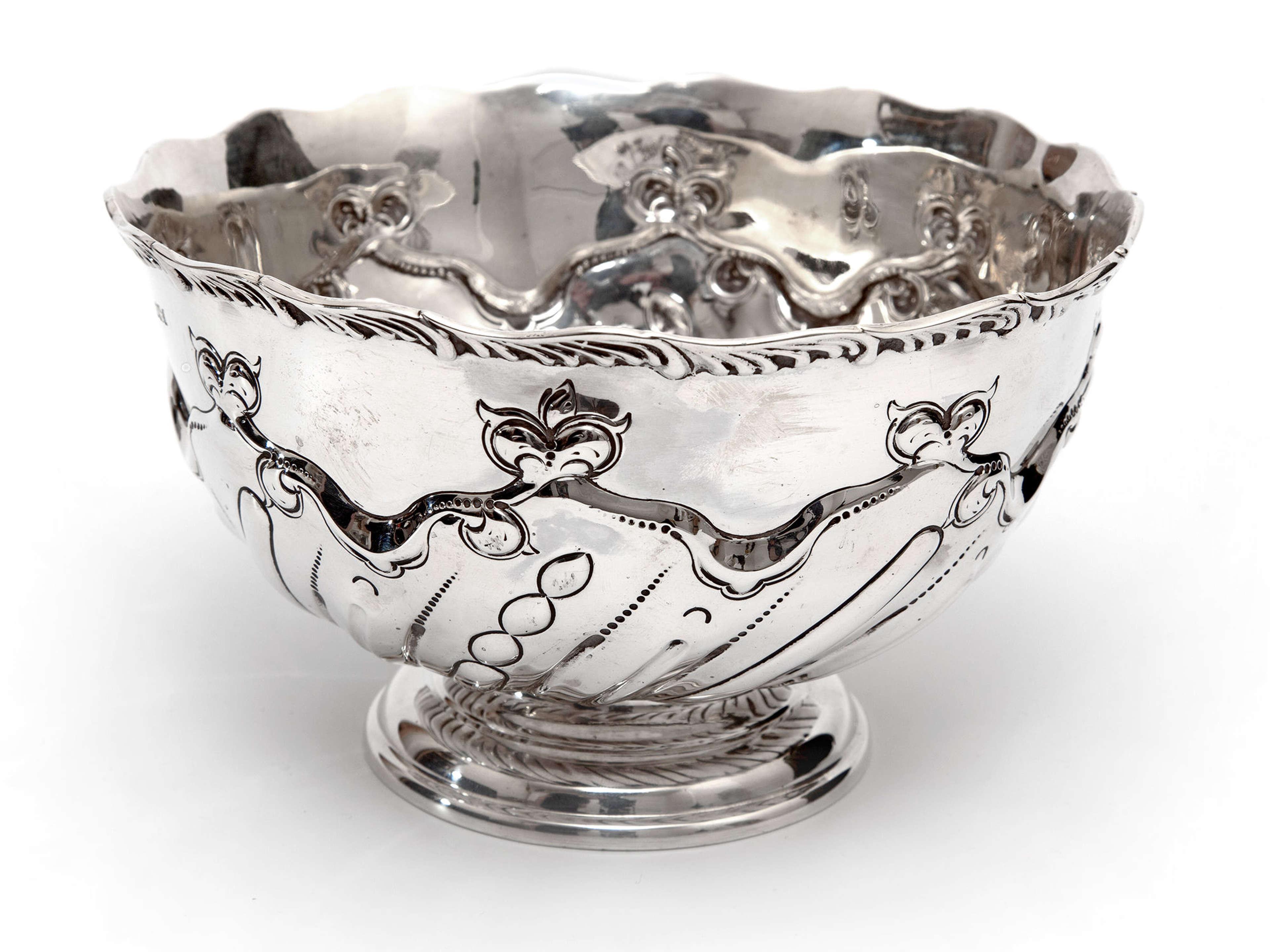 Edwardian Thomas Bradbury & Son Silver Rose Bowl