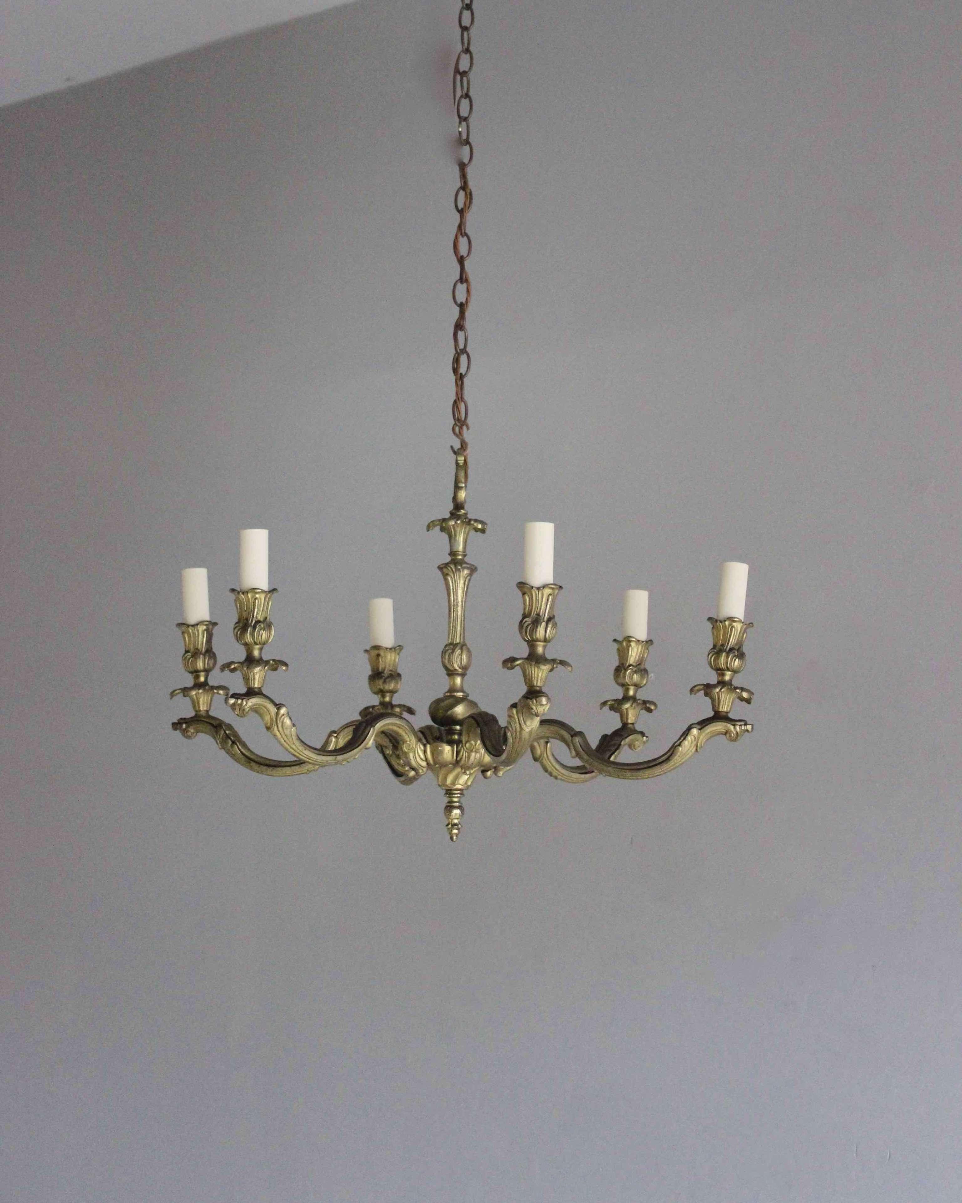 Gilded brass antique chandelier