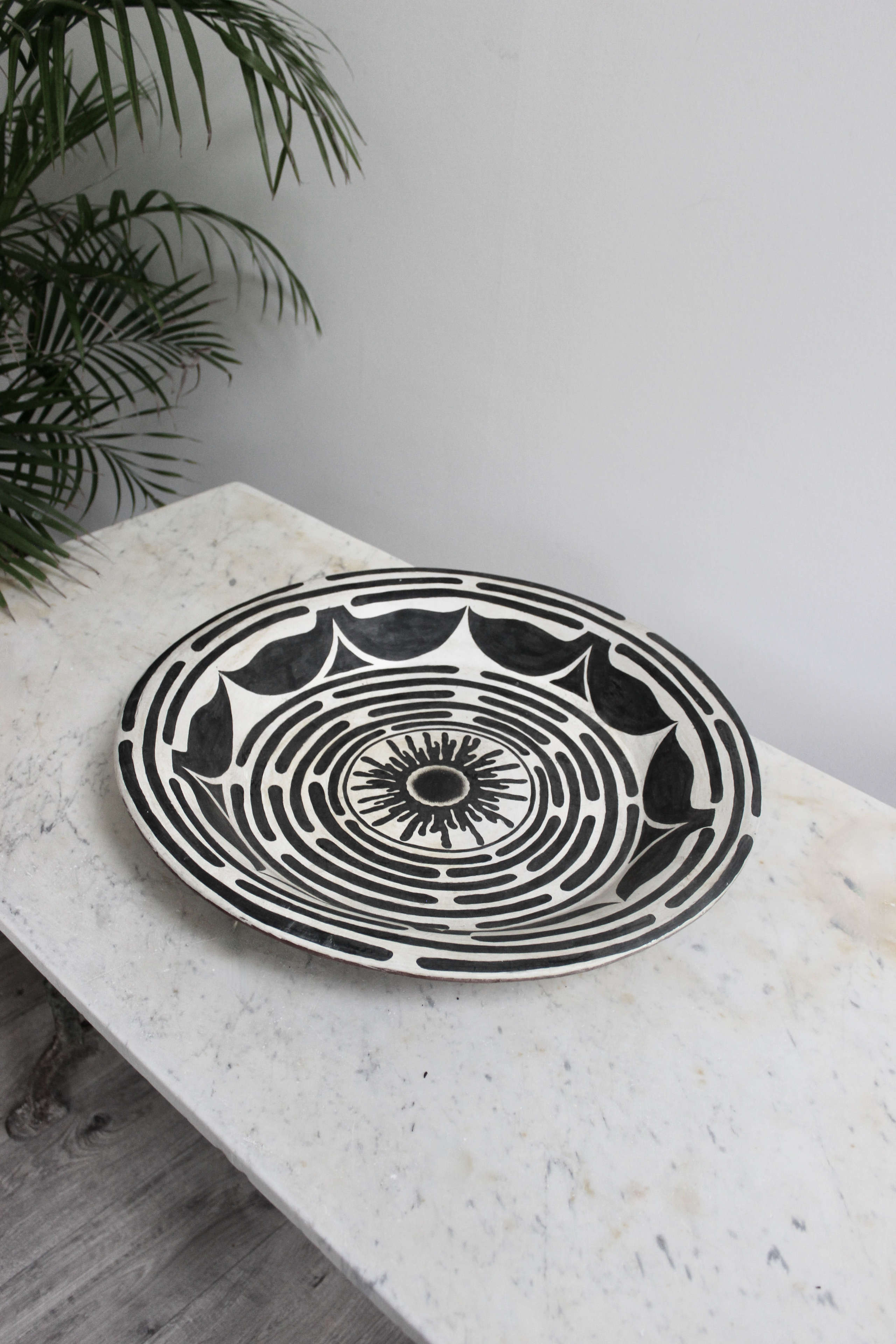 Large  terracotta hand painted aztec style charger