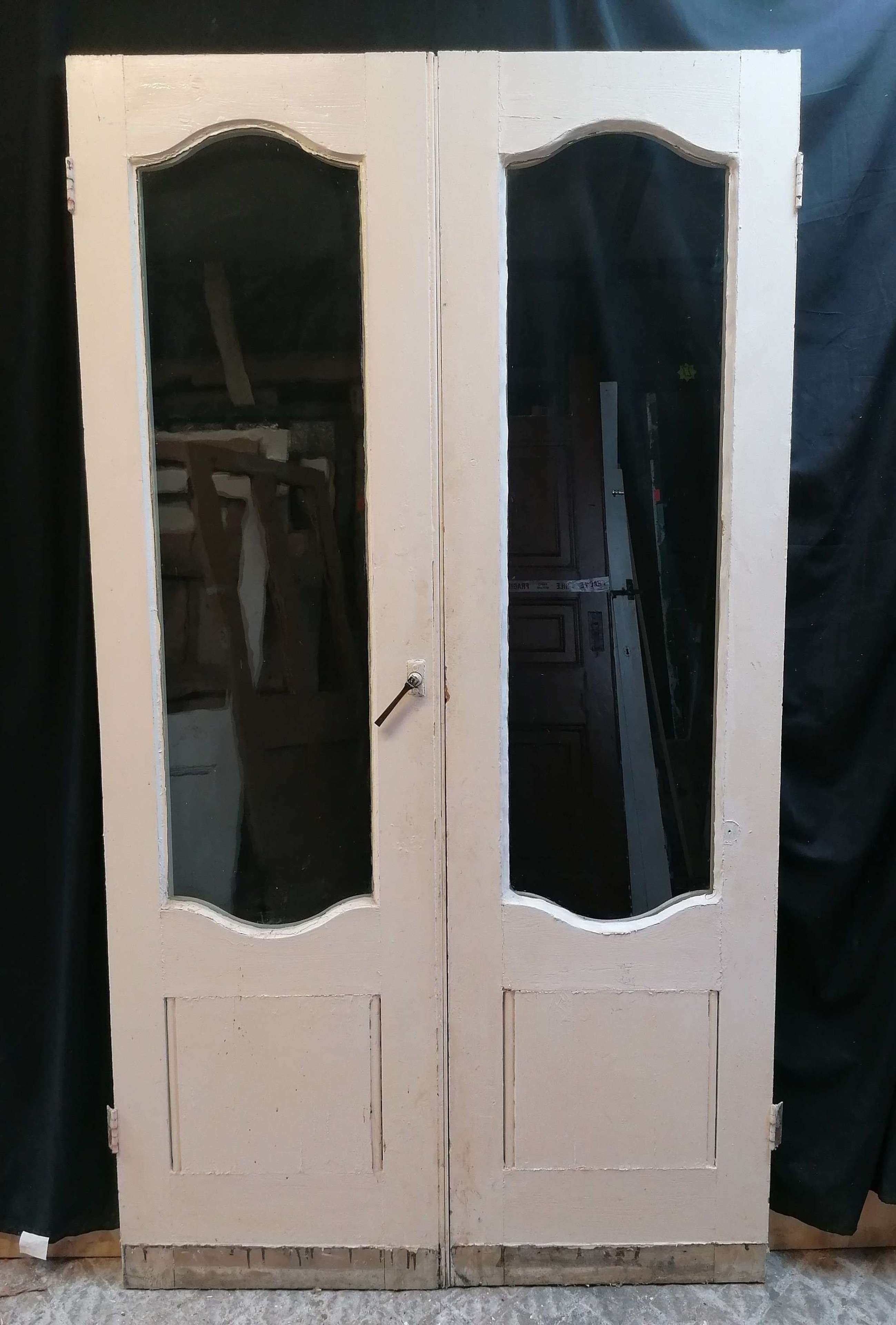 DP0337 A PAIR OF RECLAIMED VICTORIAN PAINTED PINE GLAZED FRENCH DOORS