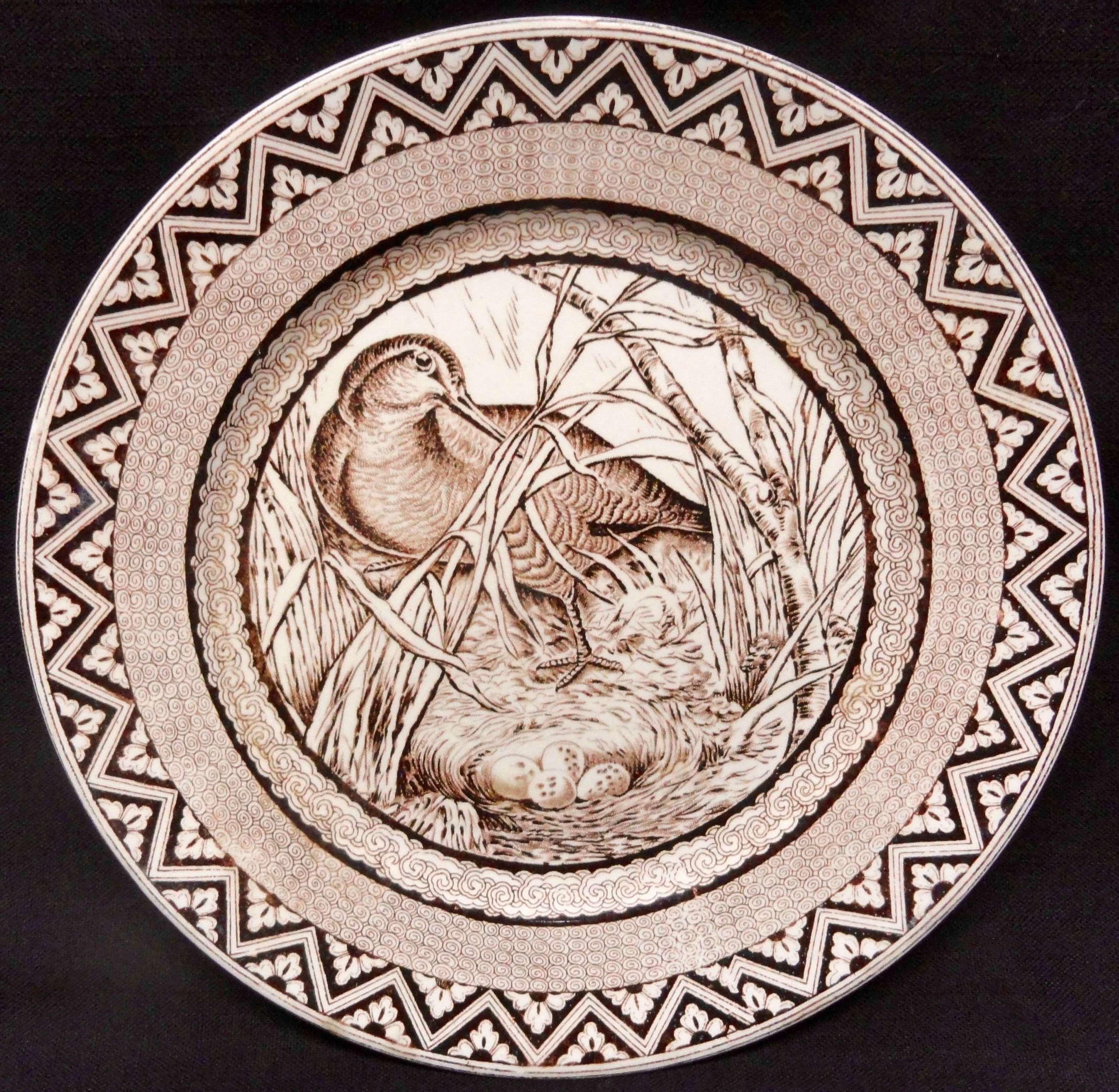 Brown Wedgwood Plate ~ Woodcock with Nest and Eggs ~ 1885