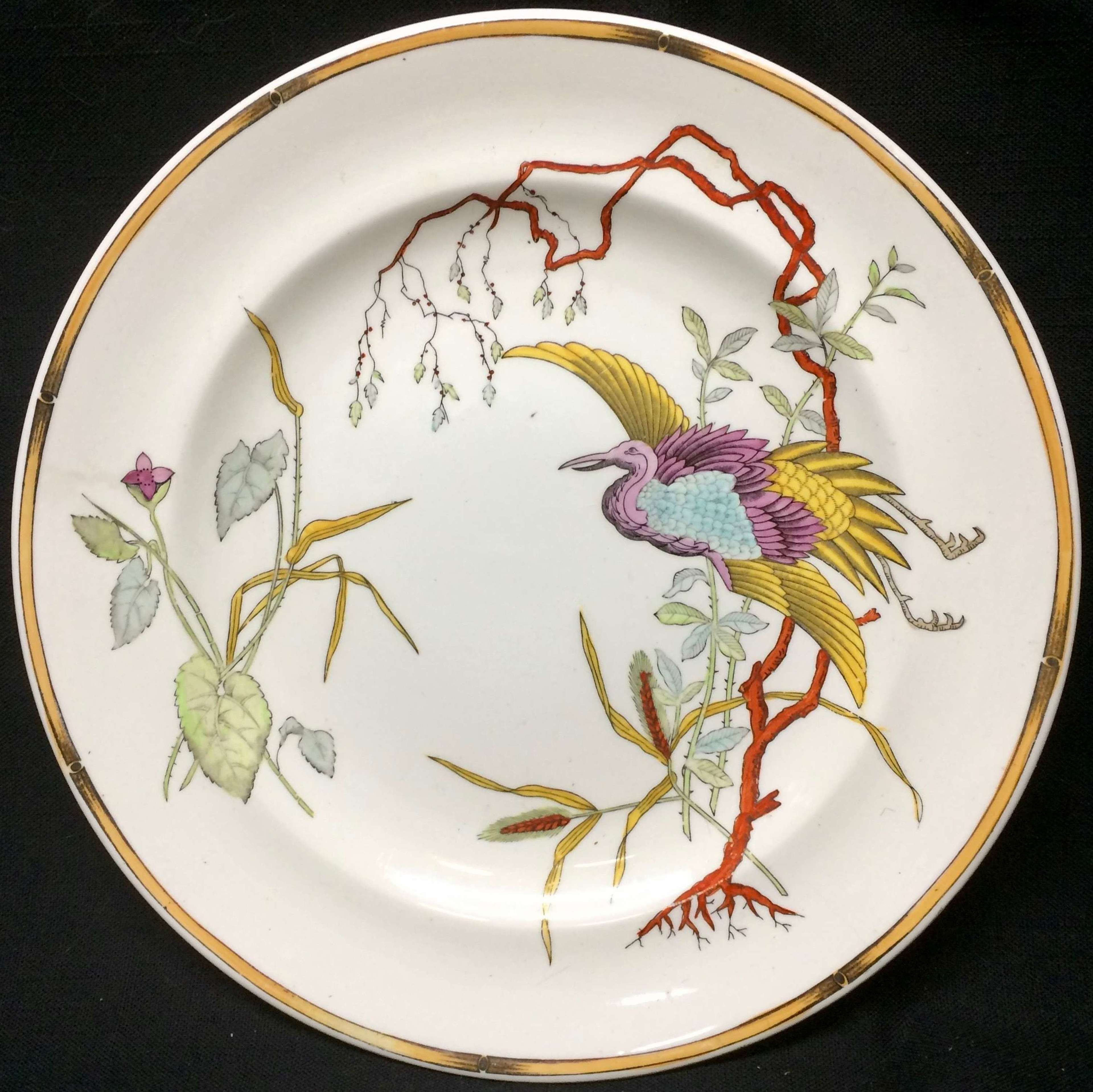 Royal Worcester Polychrome Plate ~ Rare EGRET 1877