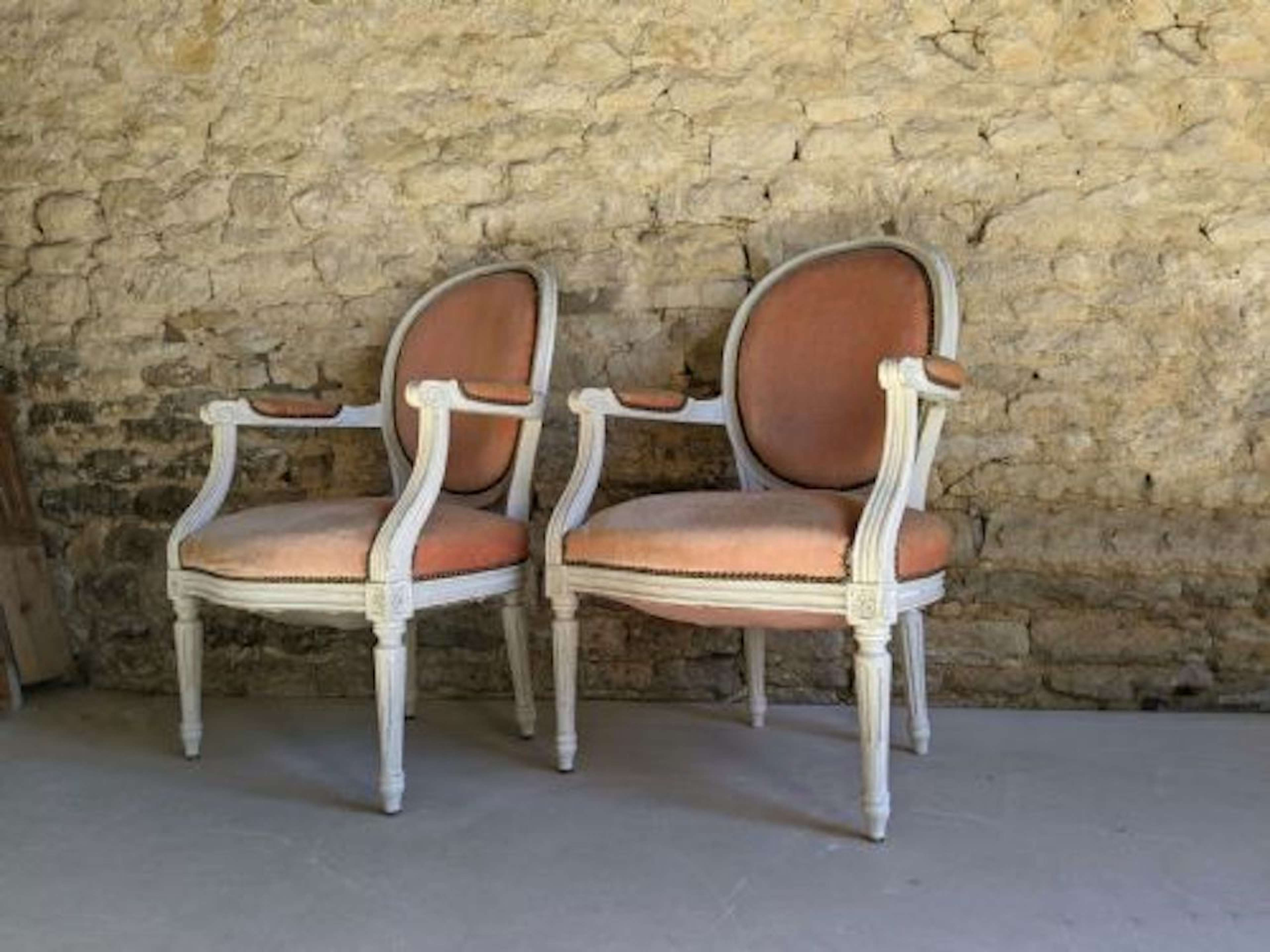 Early 20th Century French Upholstered Salon Armchairs