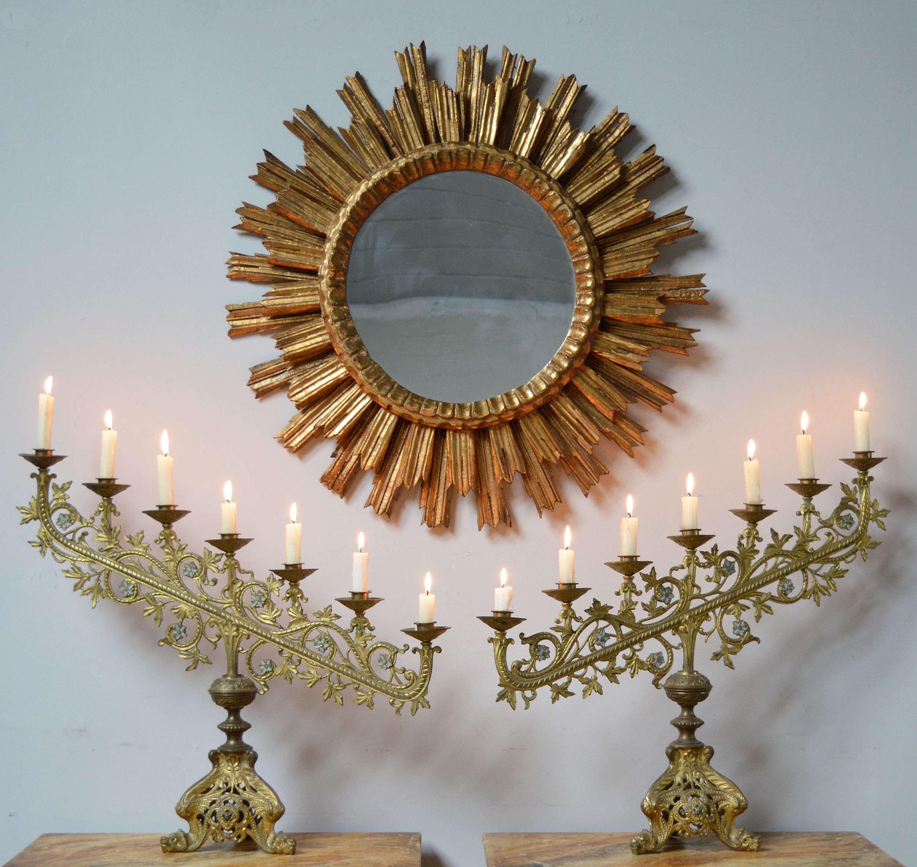 Mid century gilt wood Spanish sunburst mirror