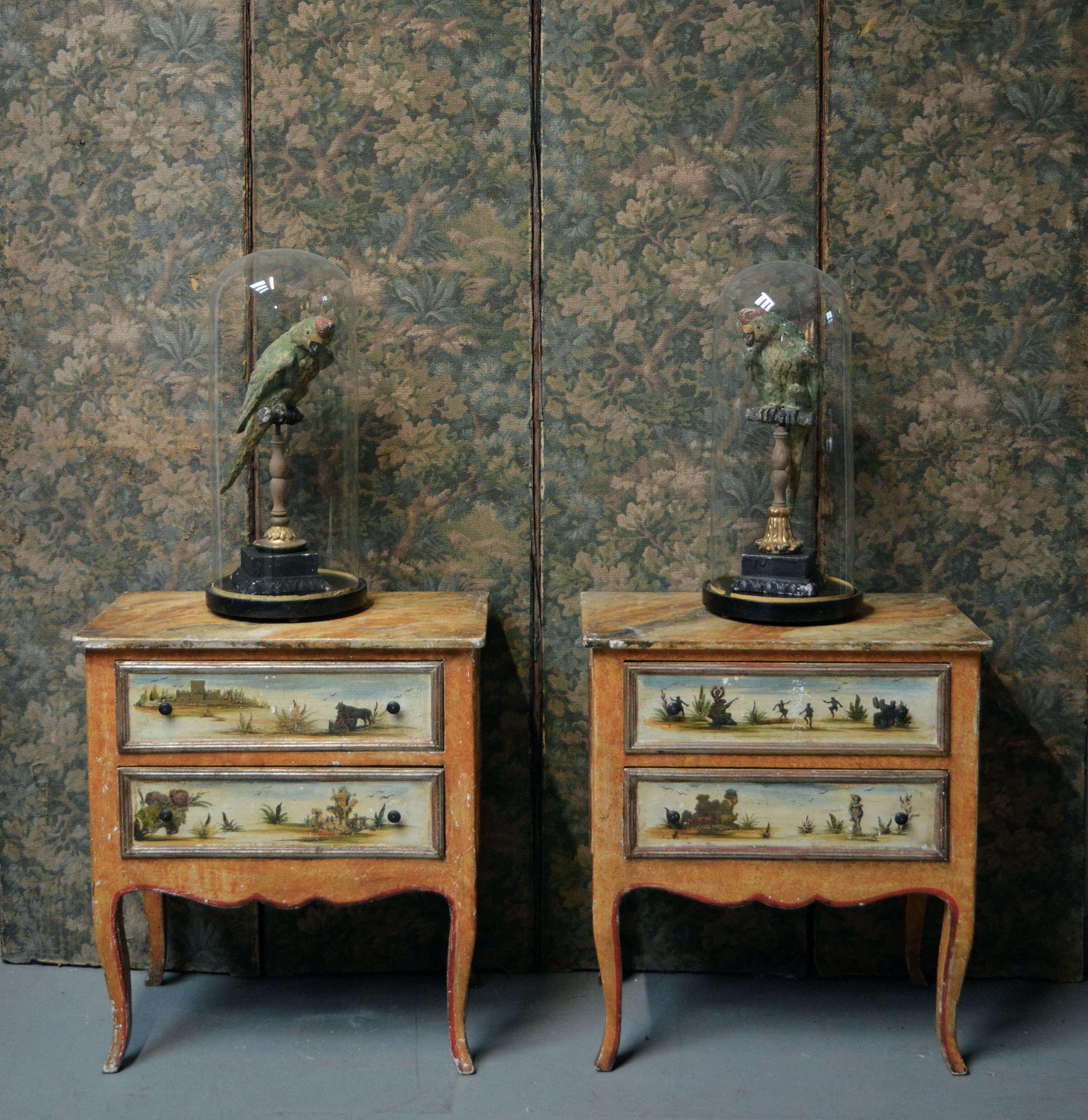Rare 19th Century Pair of Italian Lacca Povera lamp tables