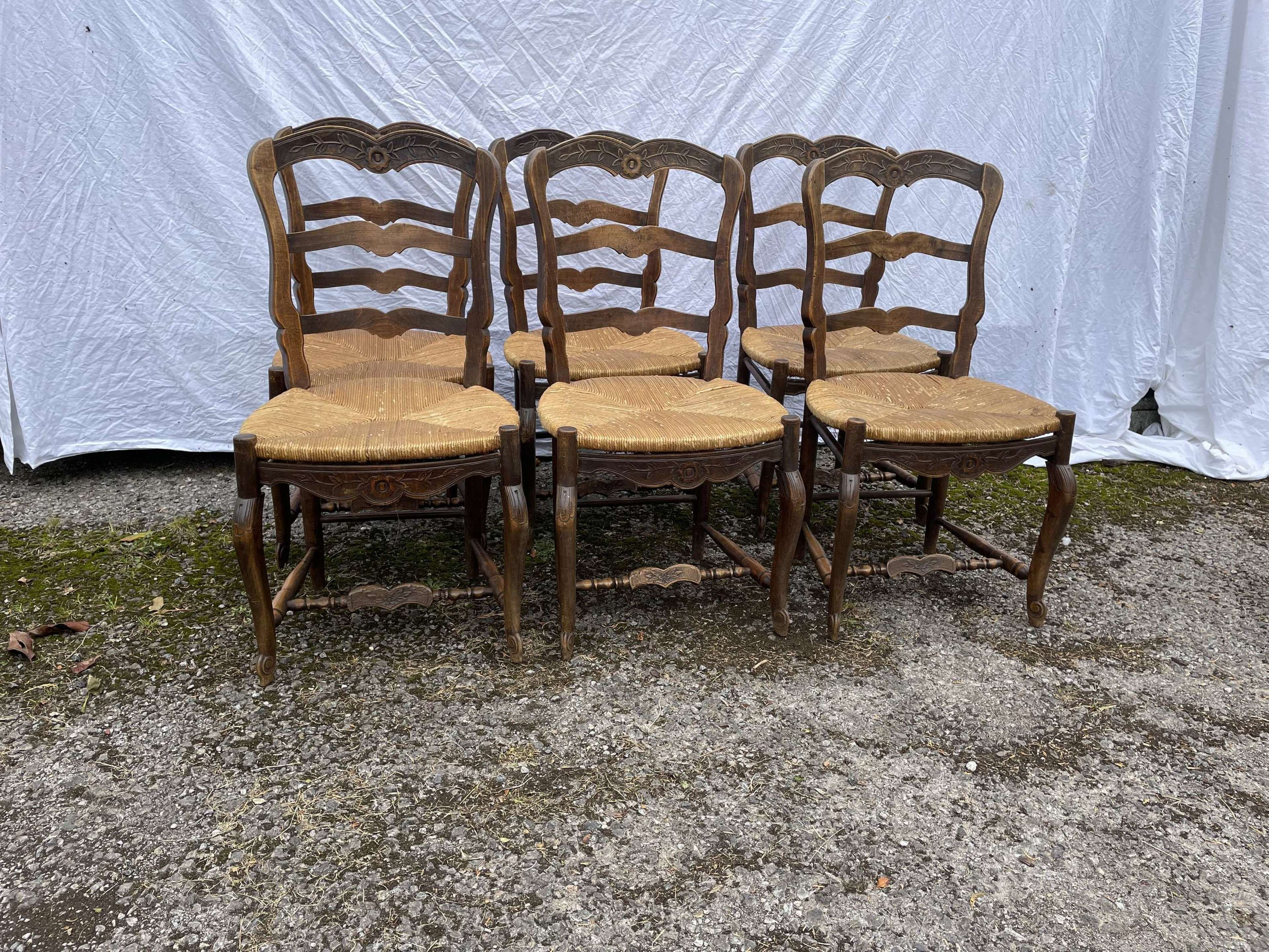 6 French Country Rush Seat Dining Chairs