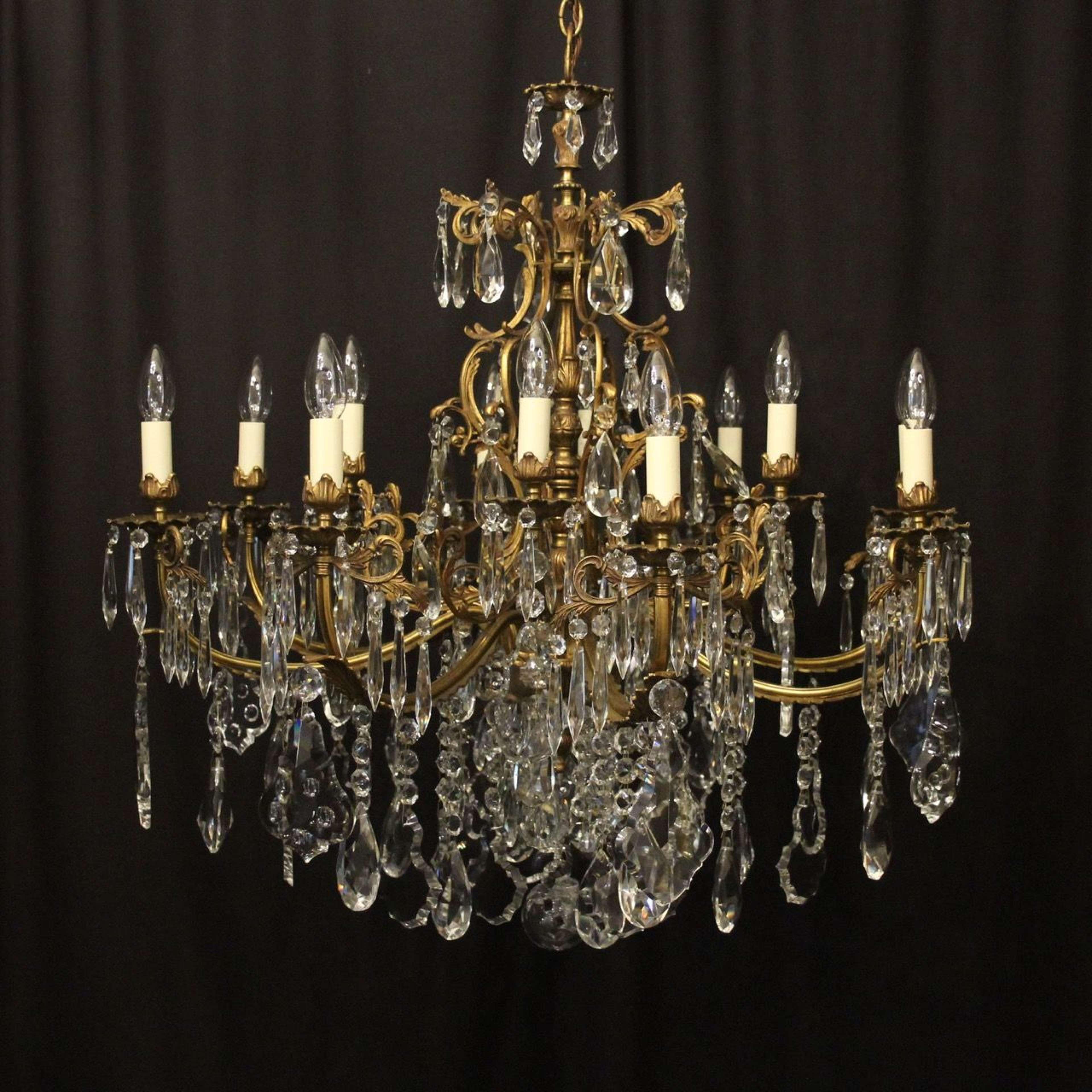 French 12 Light Gilded Bronze Antique Chandelier