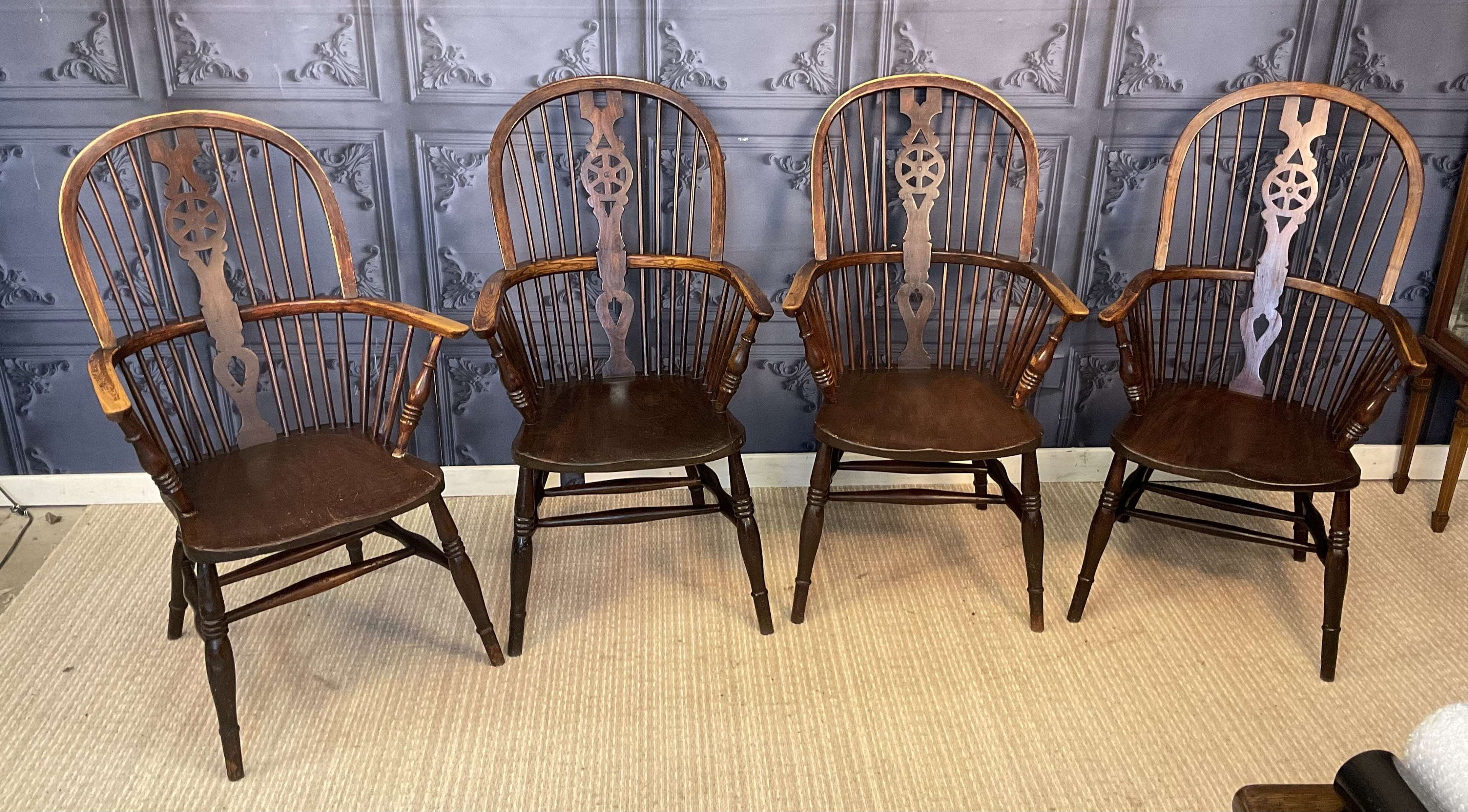 Set of Four Ash and Elm Windsor Chair
