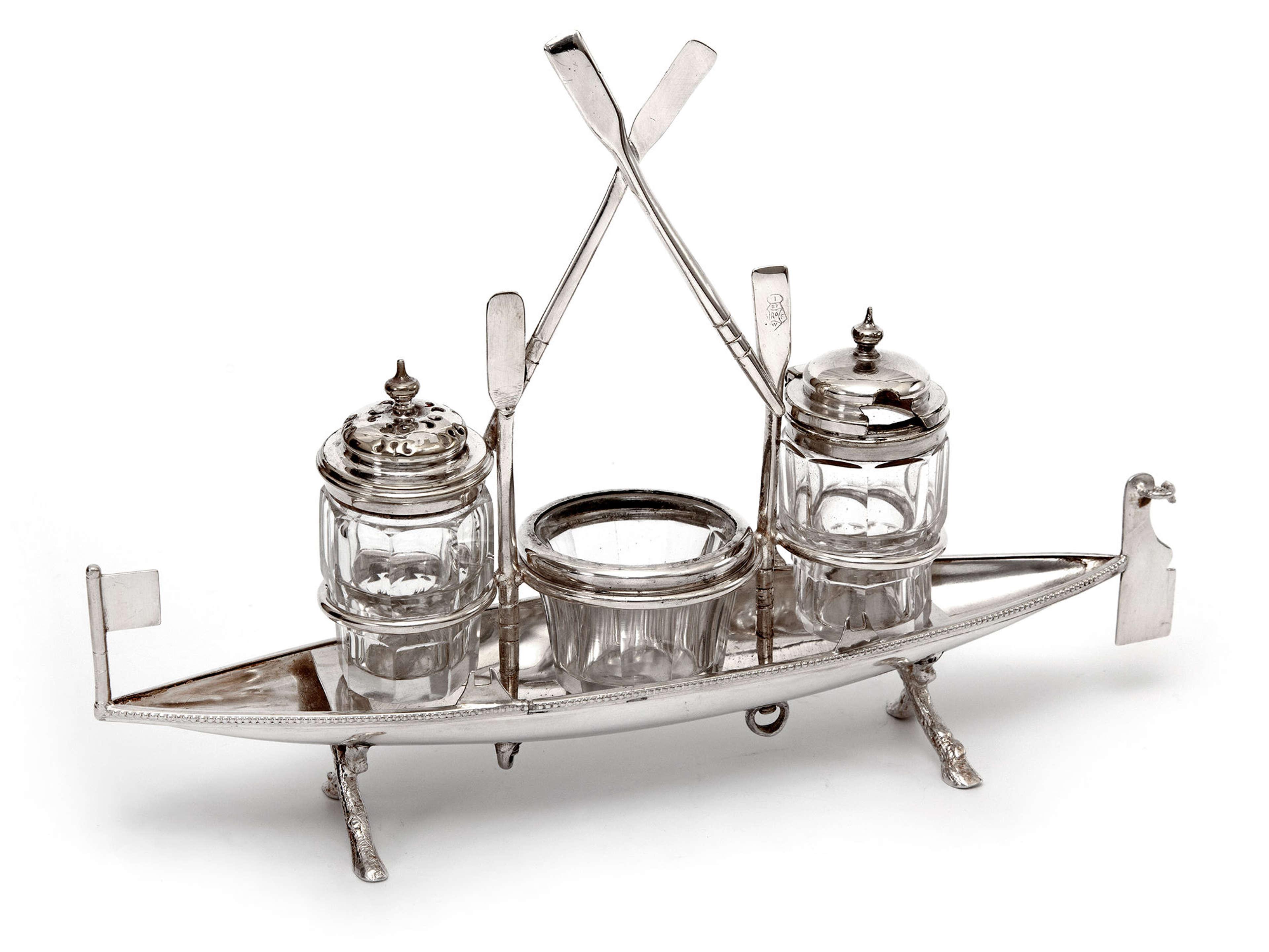 Unusual Victorian Silver Plate Novelty Rowing Boat Cruet Set