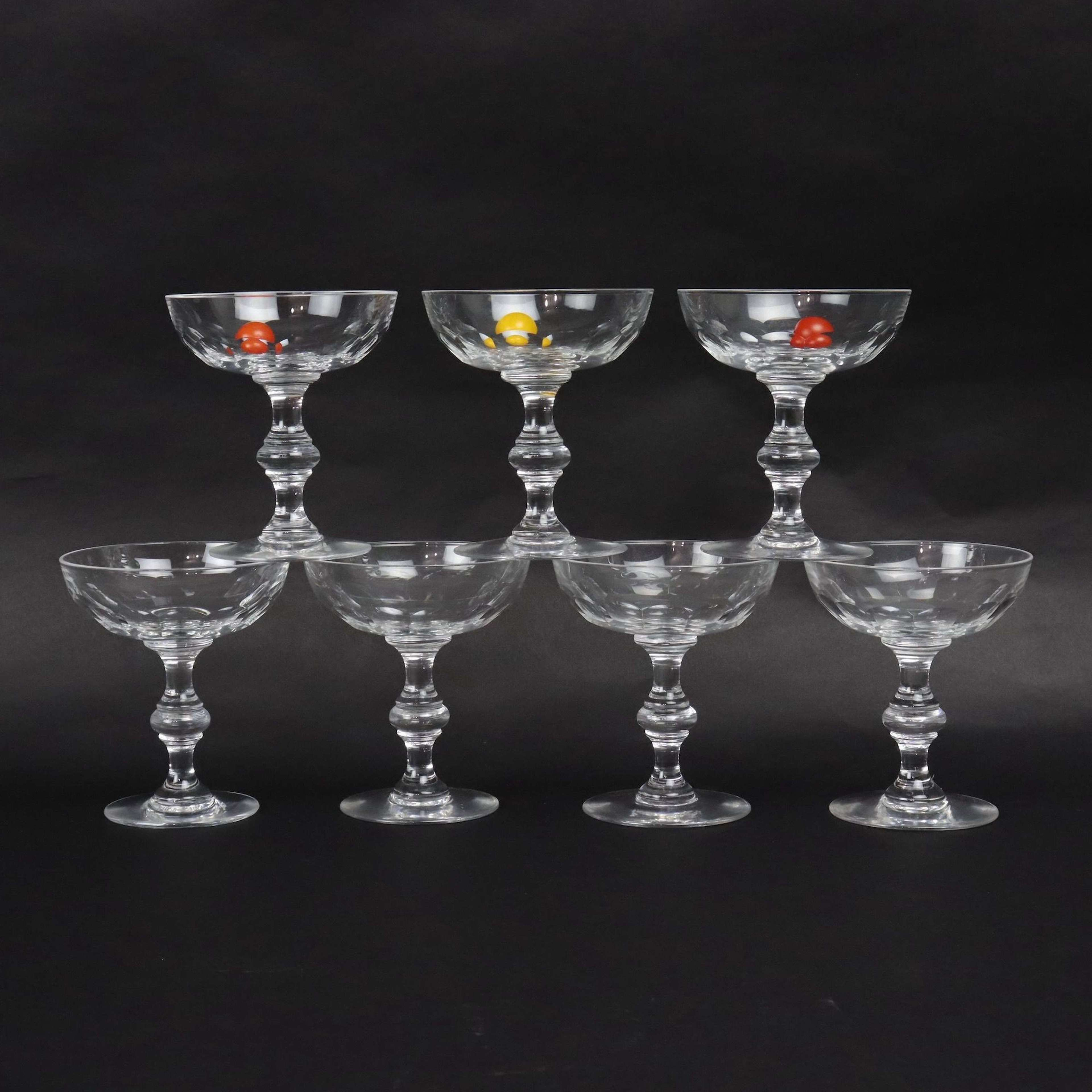 Val St. Lambert crystal champagne coupes