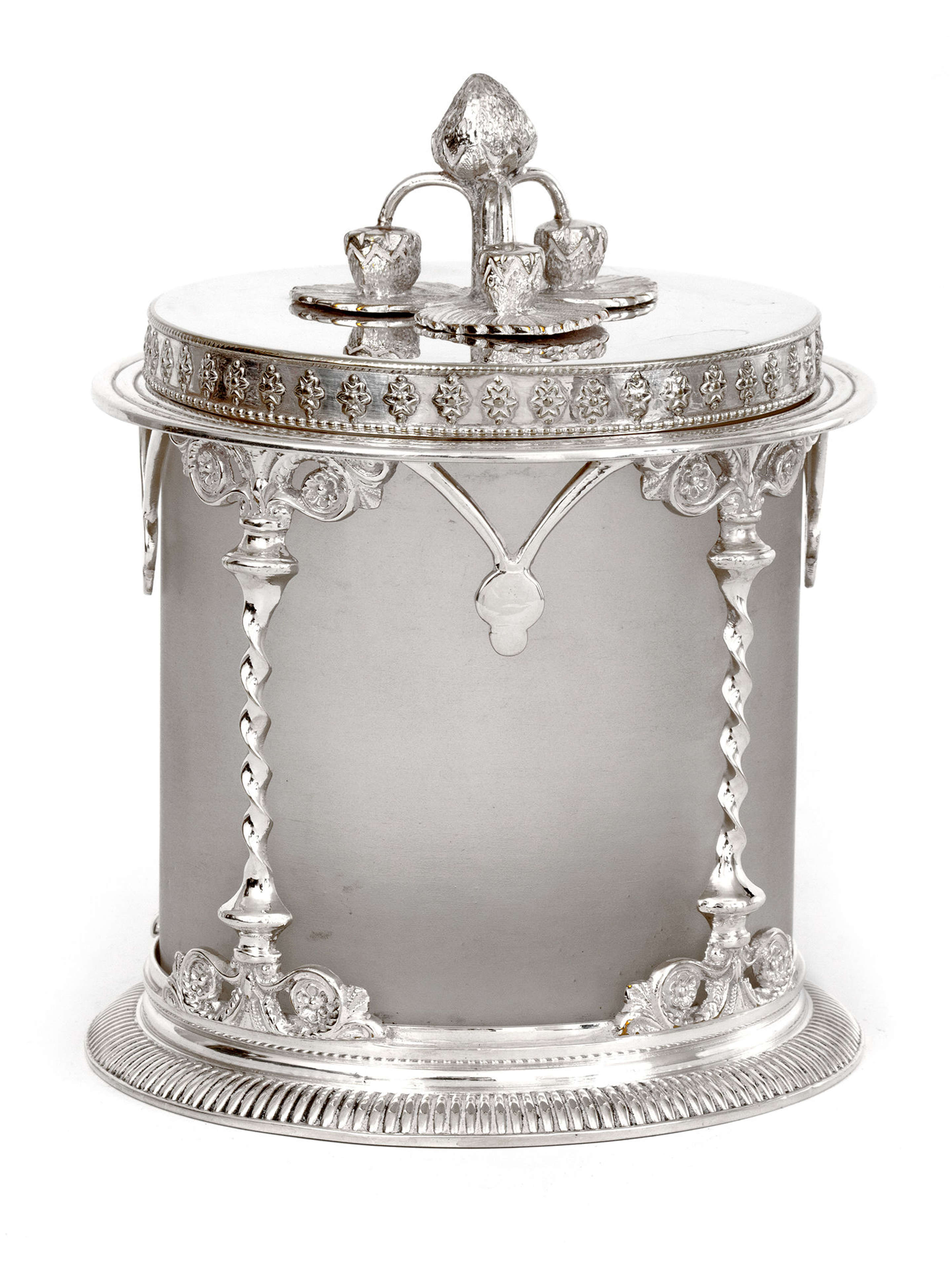 Antique Silver Plated Preserve Pot with a Frosted Glass Liner