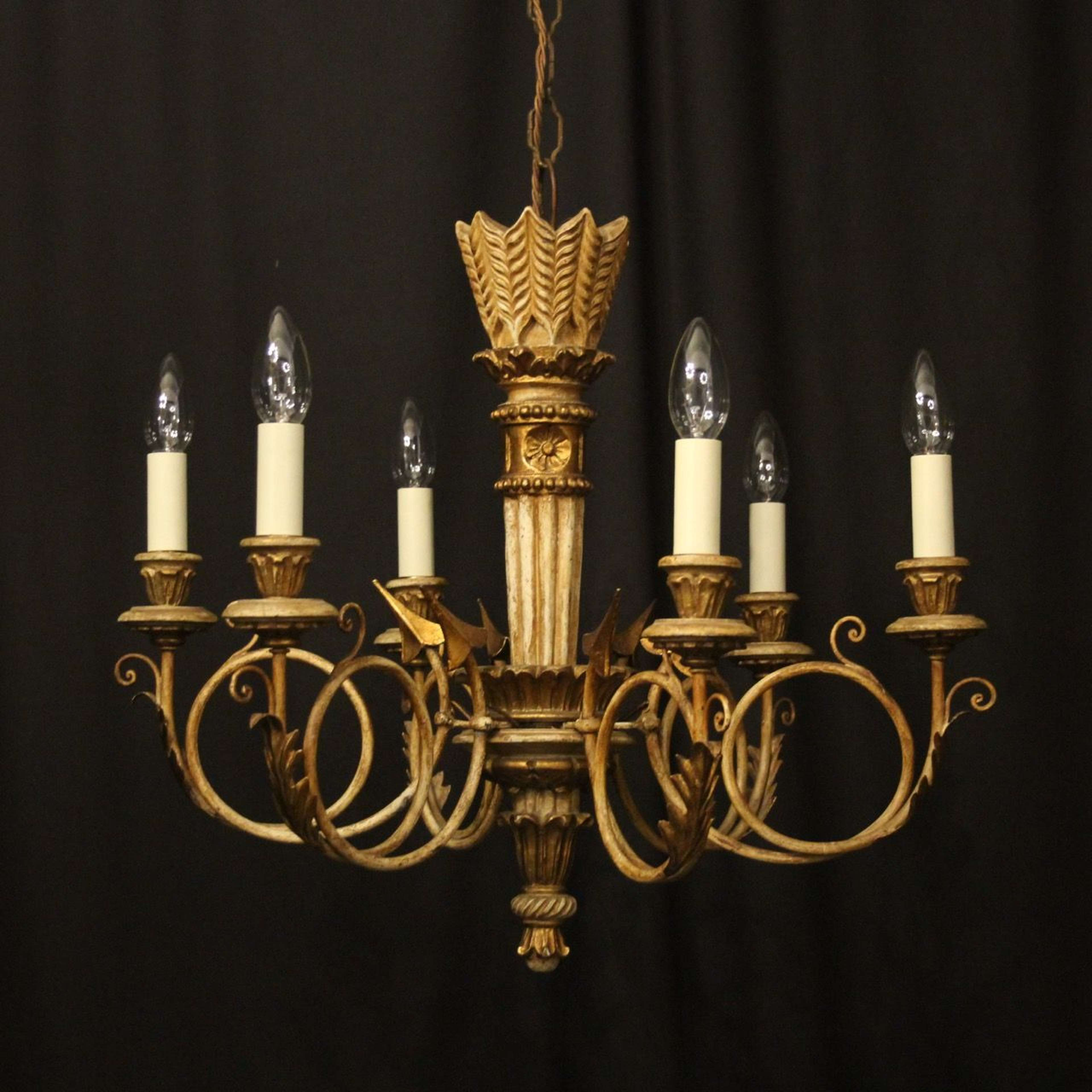 French Giltwood Polychrome 6 Light Chandelier