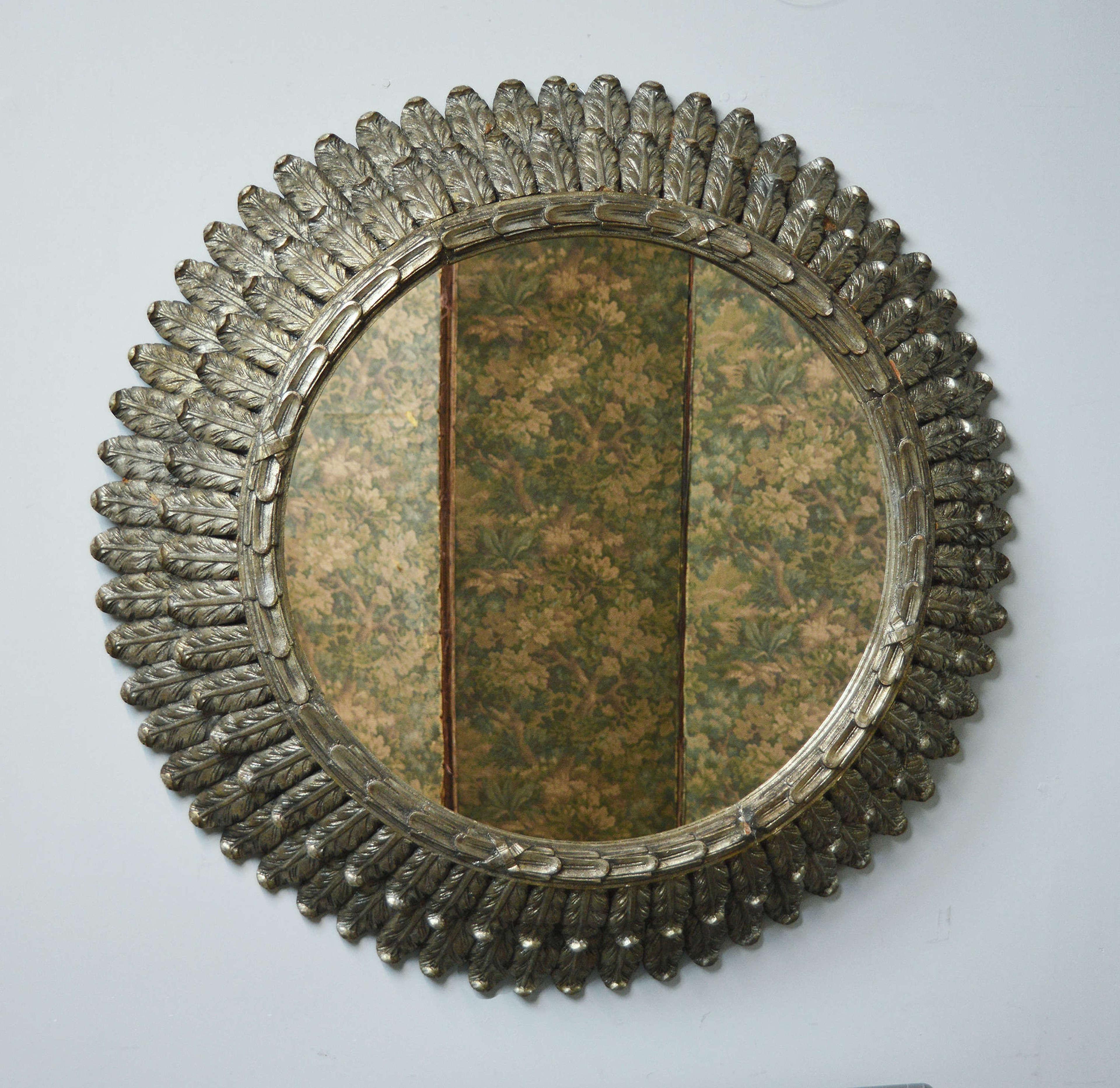 Giant statement piece silver gilt Sun mirror