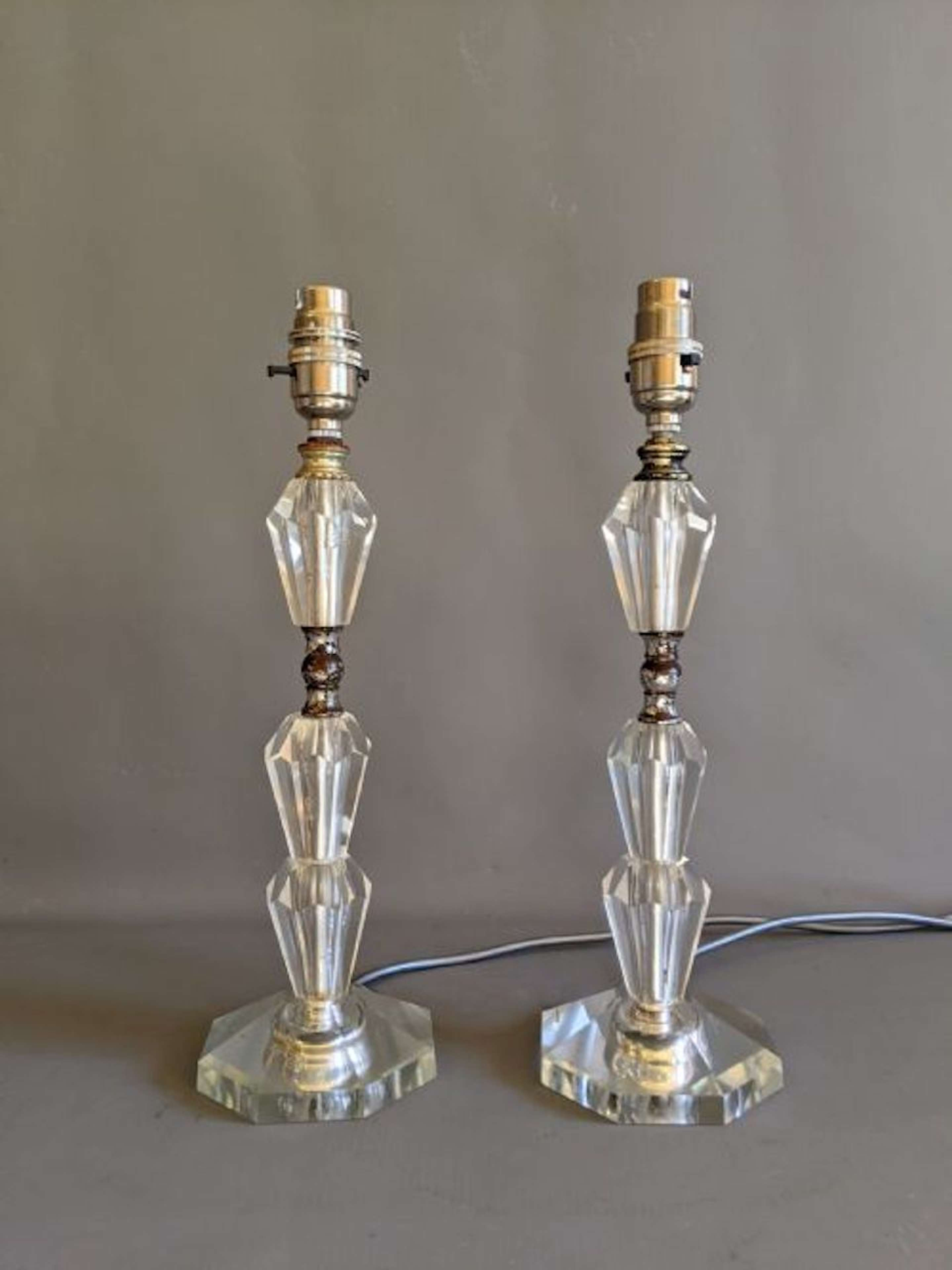 Pair of Art Deco style Glass Table Lamps