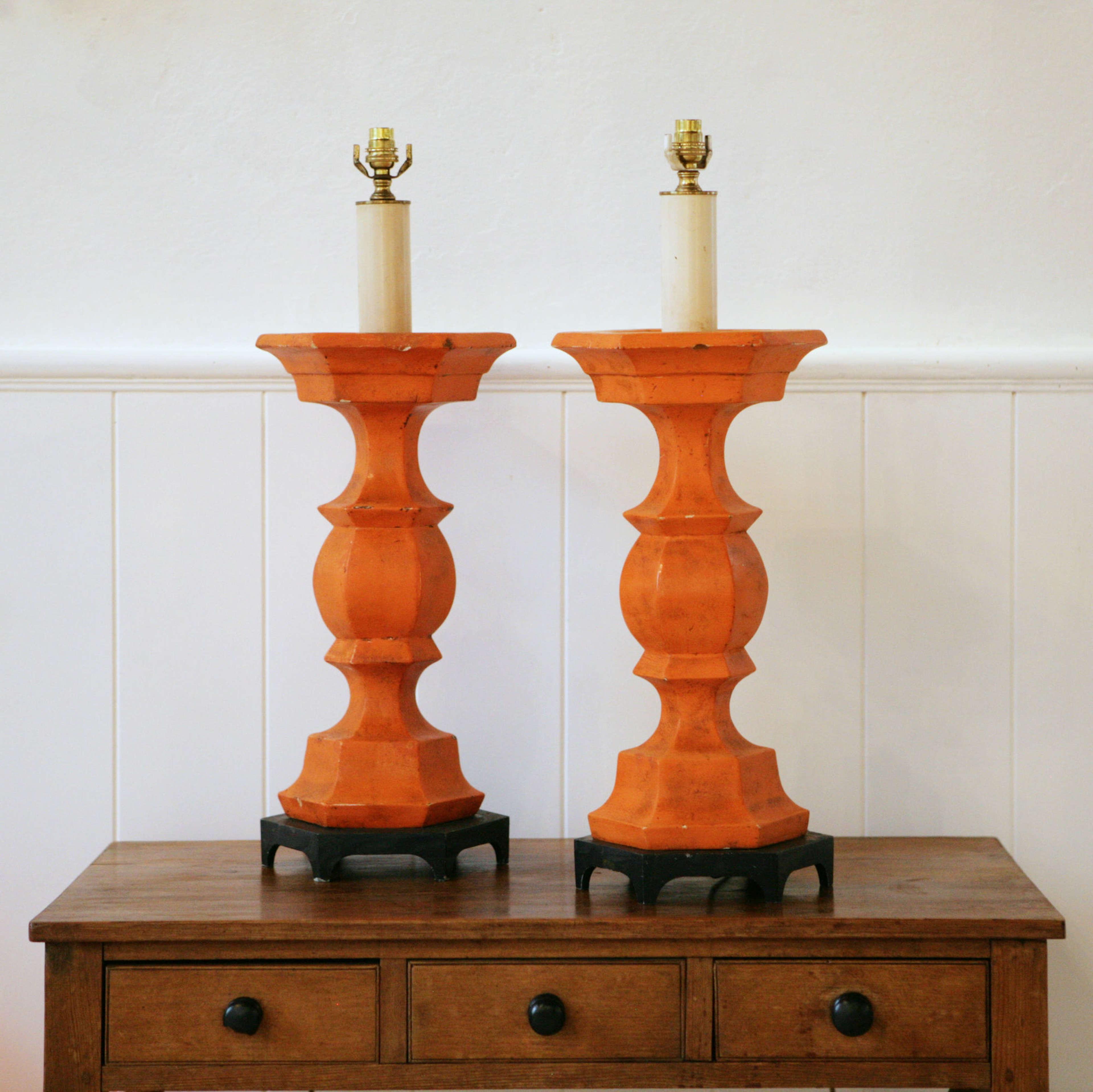 Pair of wonderful large plaster lamps