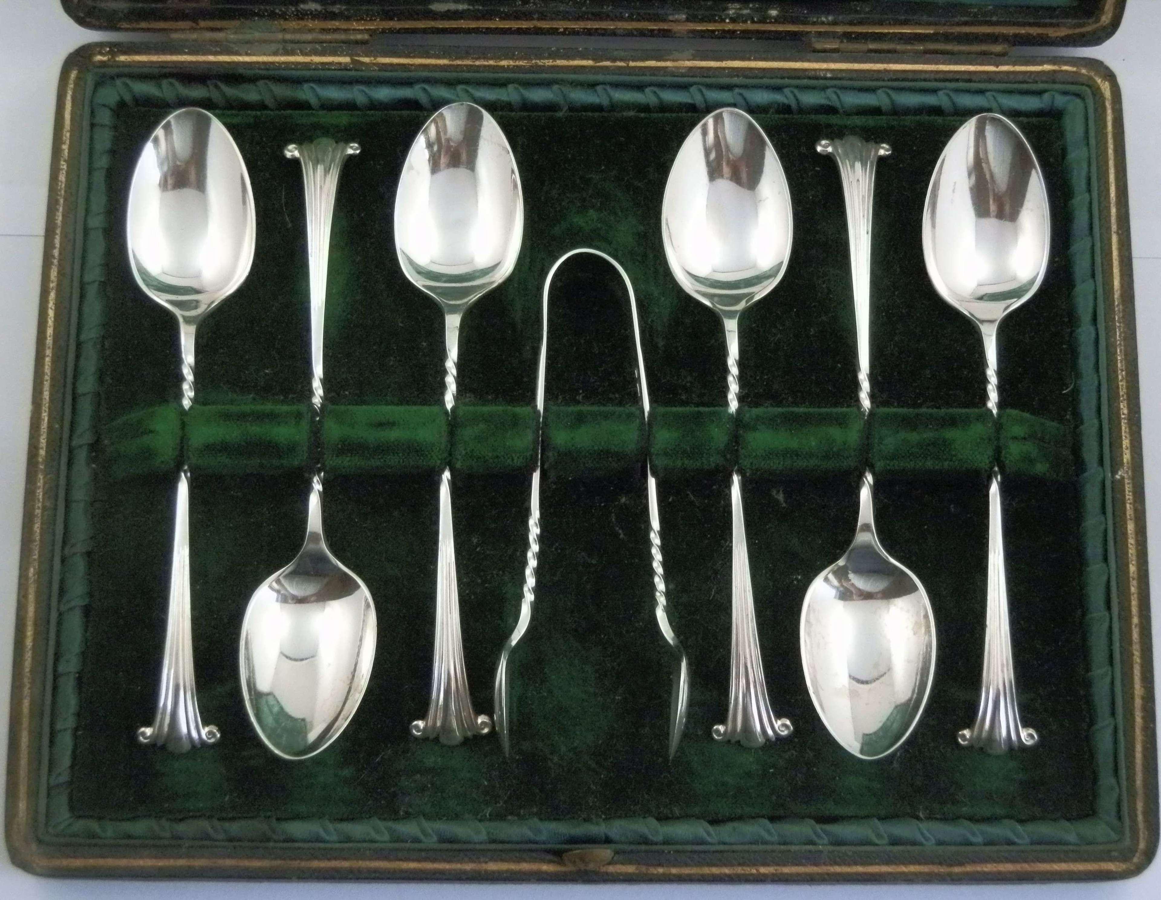 Edwardian teaspoon set, Birmingham 1904