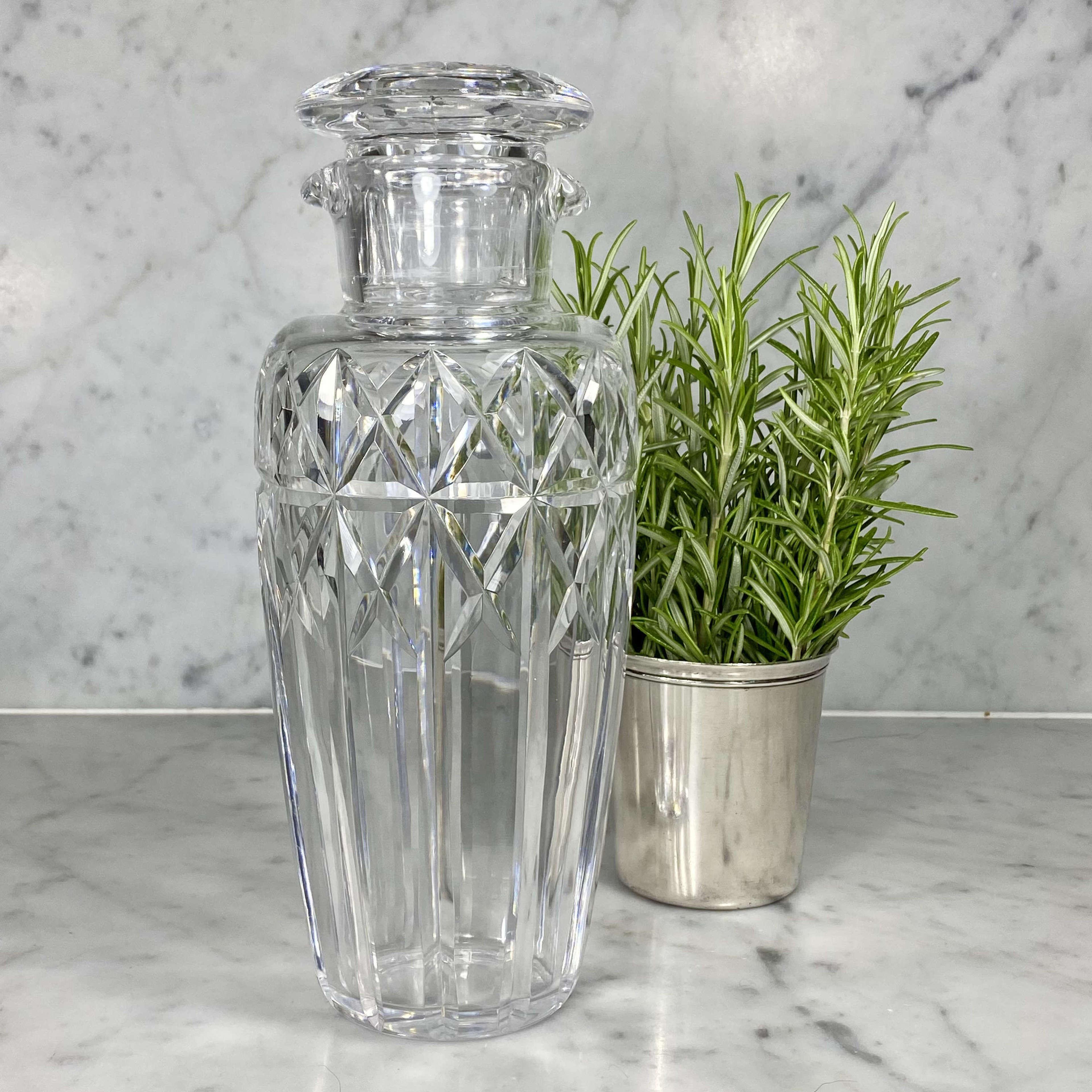 Art Deco Val Saint Lambert crystal cocktail shaker