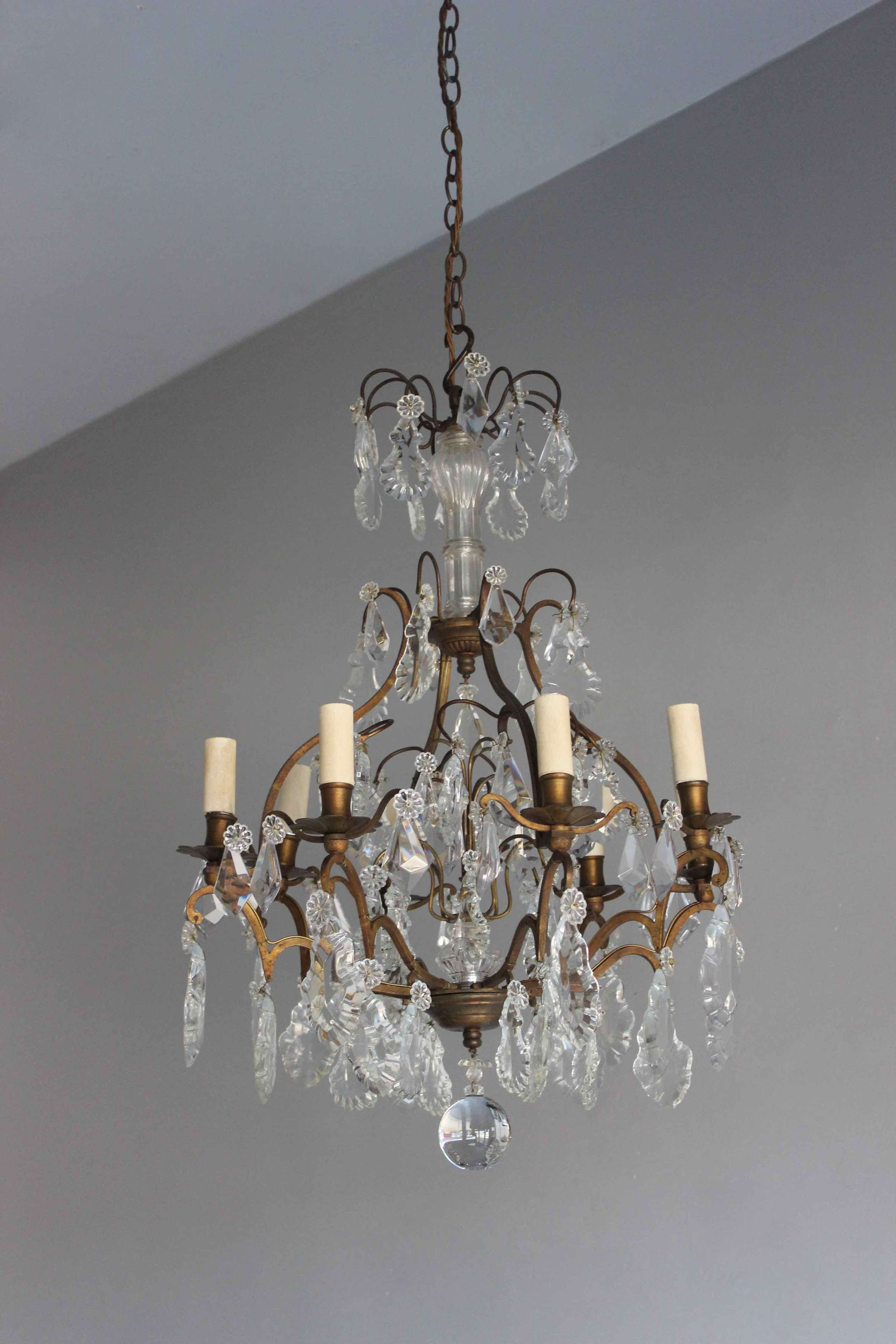 French cut glass antique chandelier