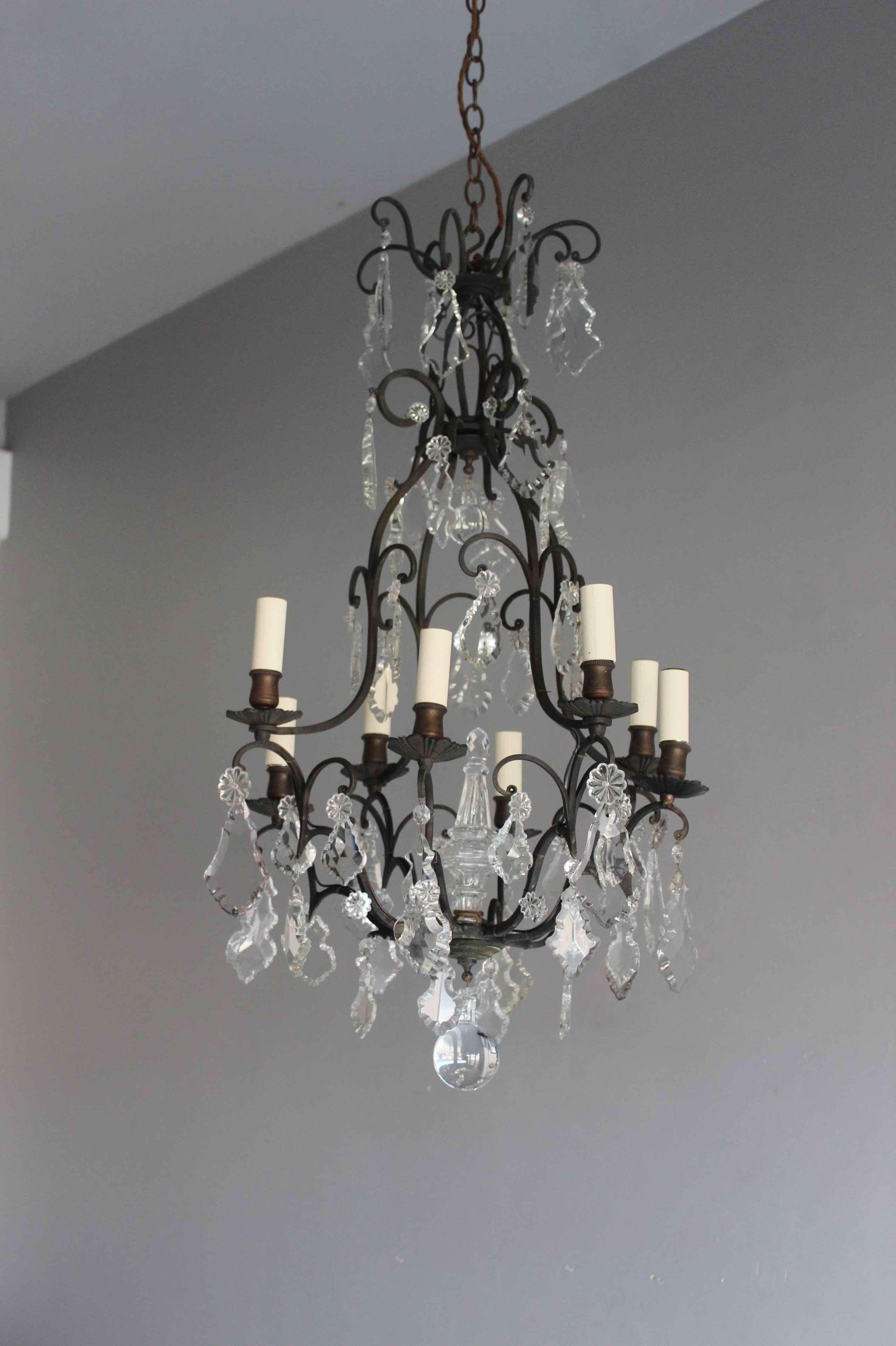 French antique dark brass framed chandelier