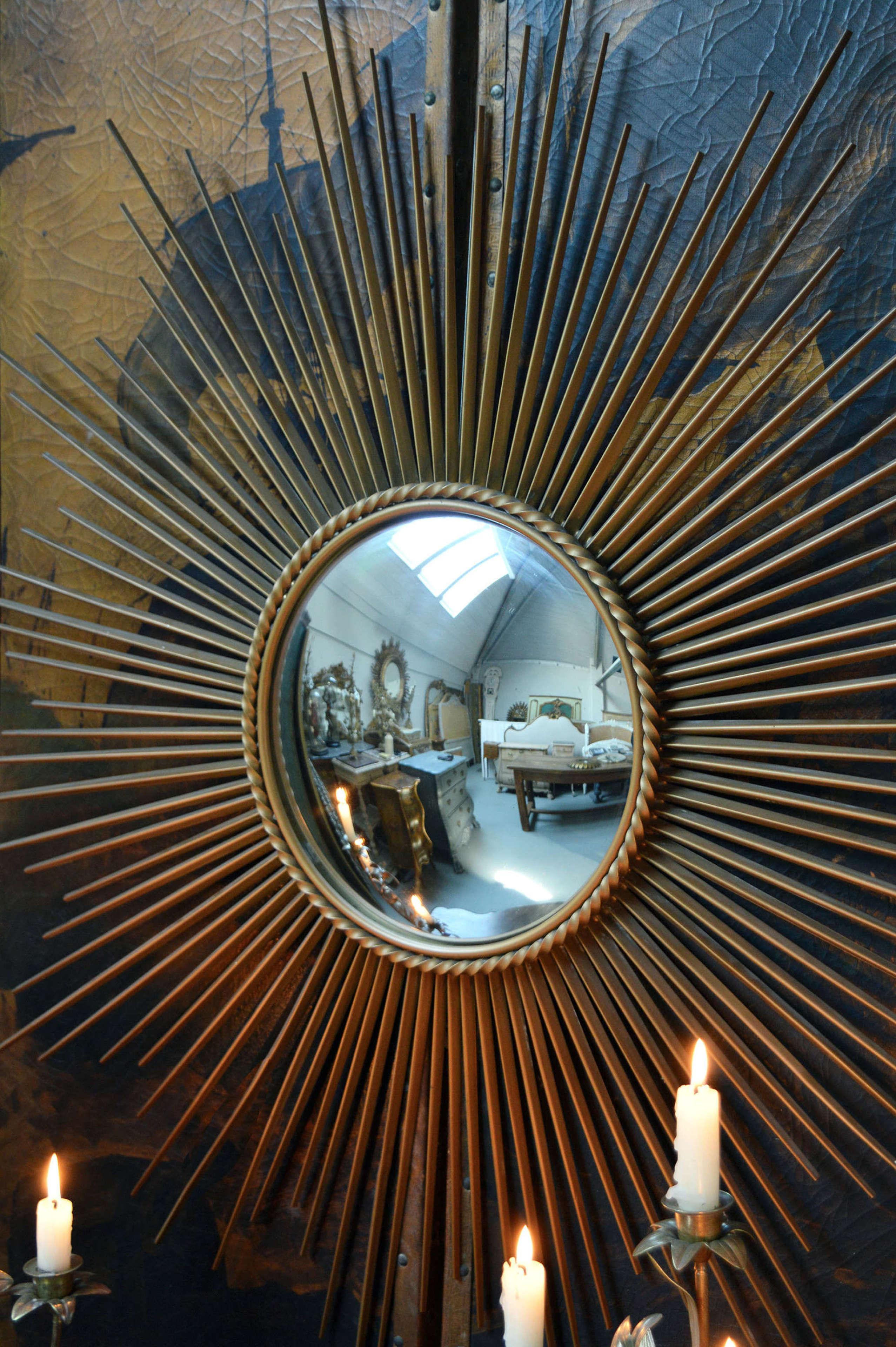 Large Chaty Vallauris sun burst mirror c1950-60