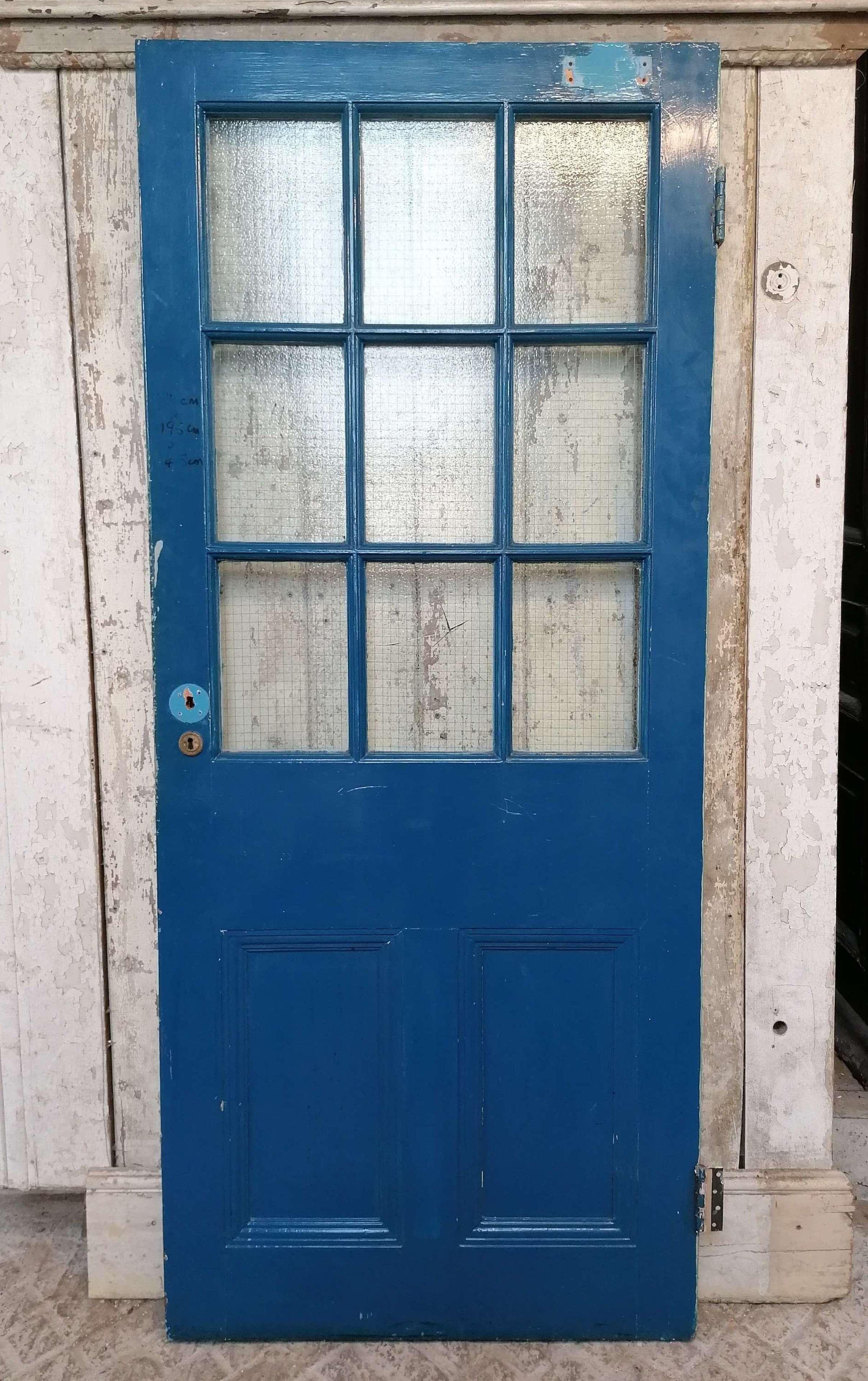 DB0707 A RECLAIMED PAINTED PINE INTERNAL / EXTERNAL GLAZED DOOR