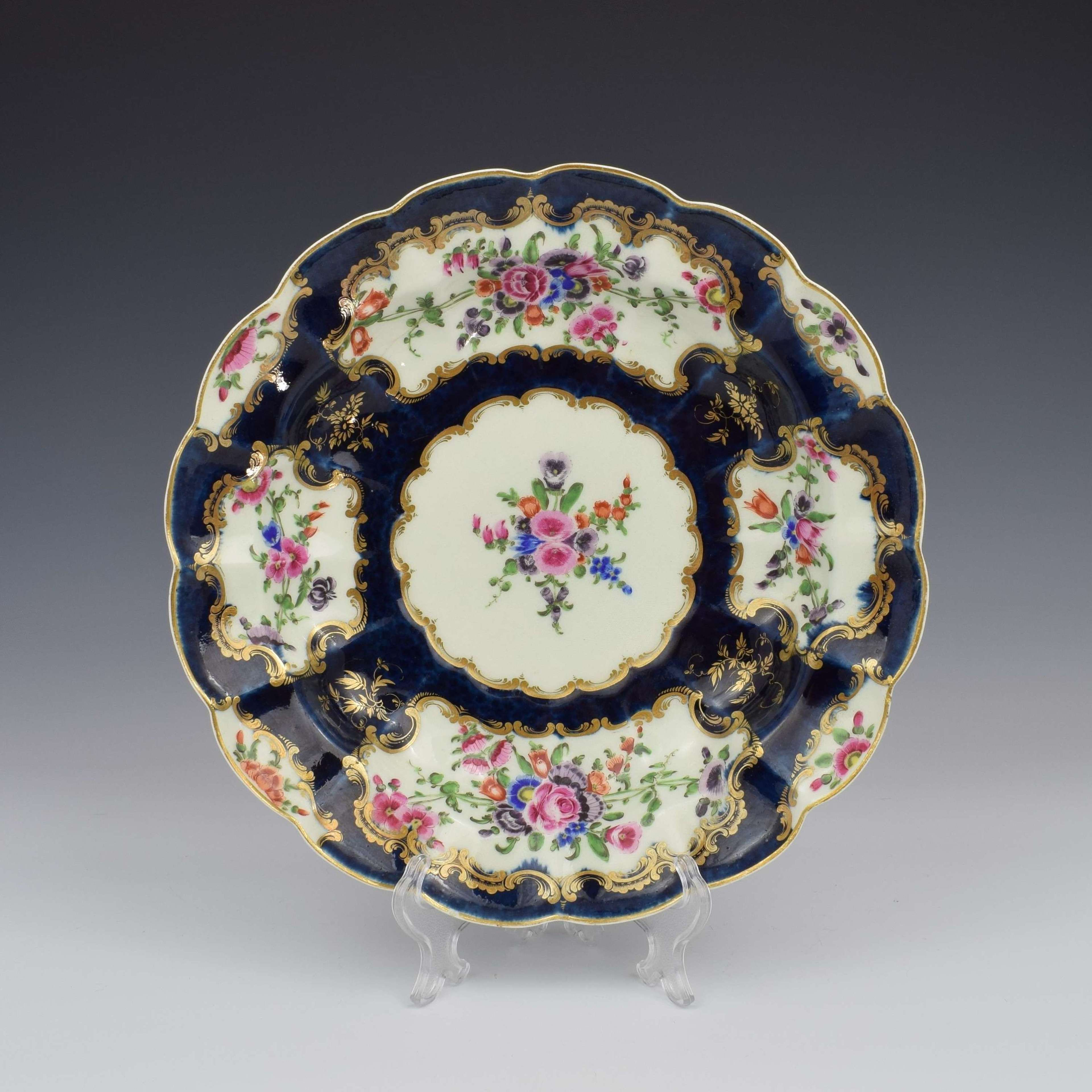 First Period Worcester Porcelain Blue Scale Junket Dish c.1770