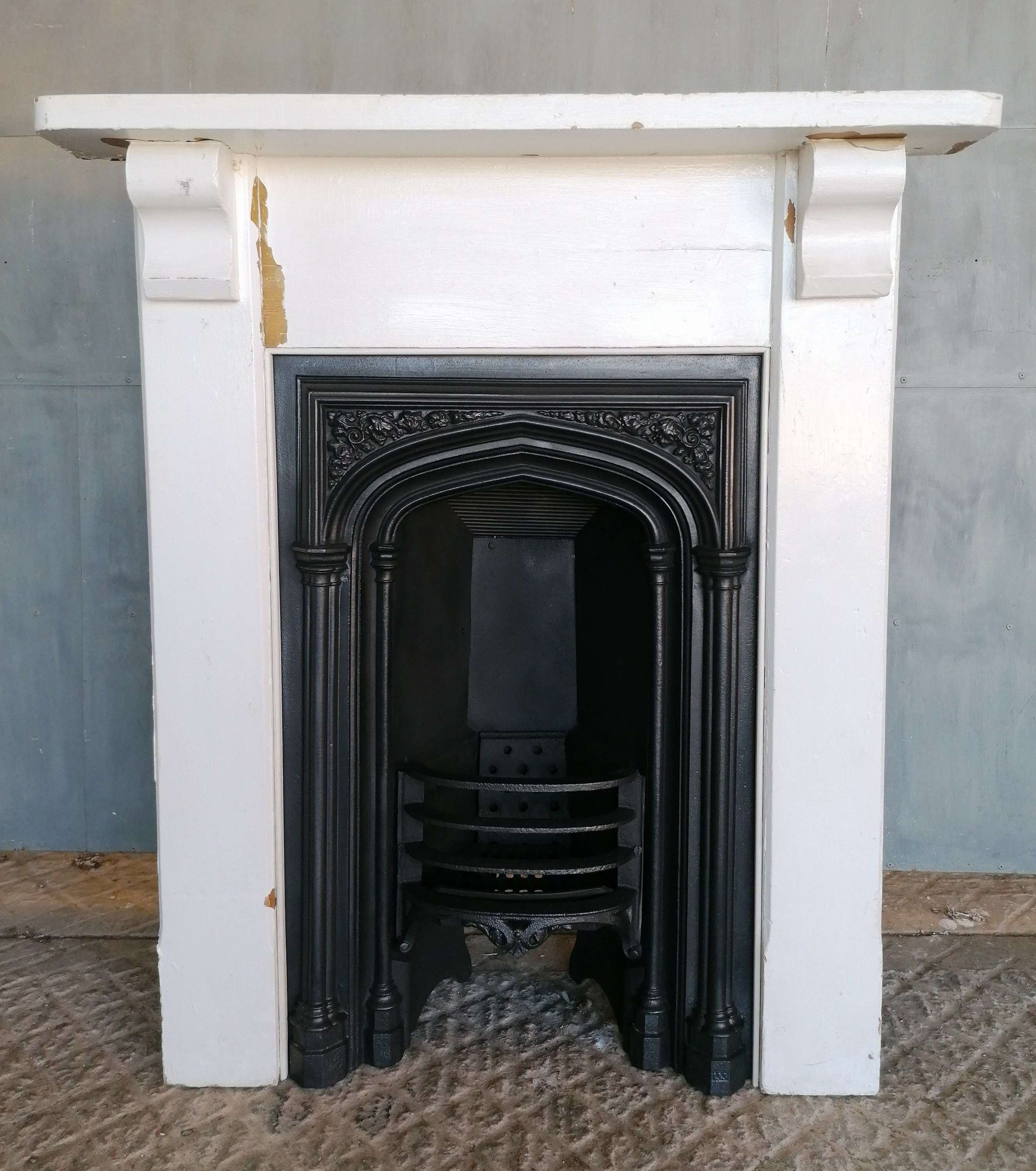 FC0133 GOTHIC RECLAIMED CAST IRON FIRE INSERT AND PINE FIRE SURROUND