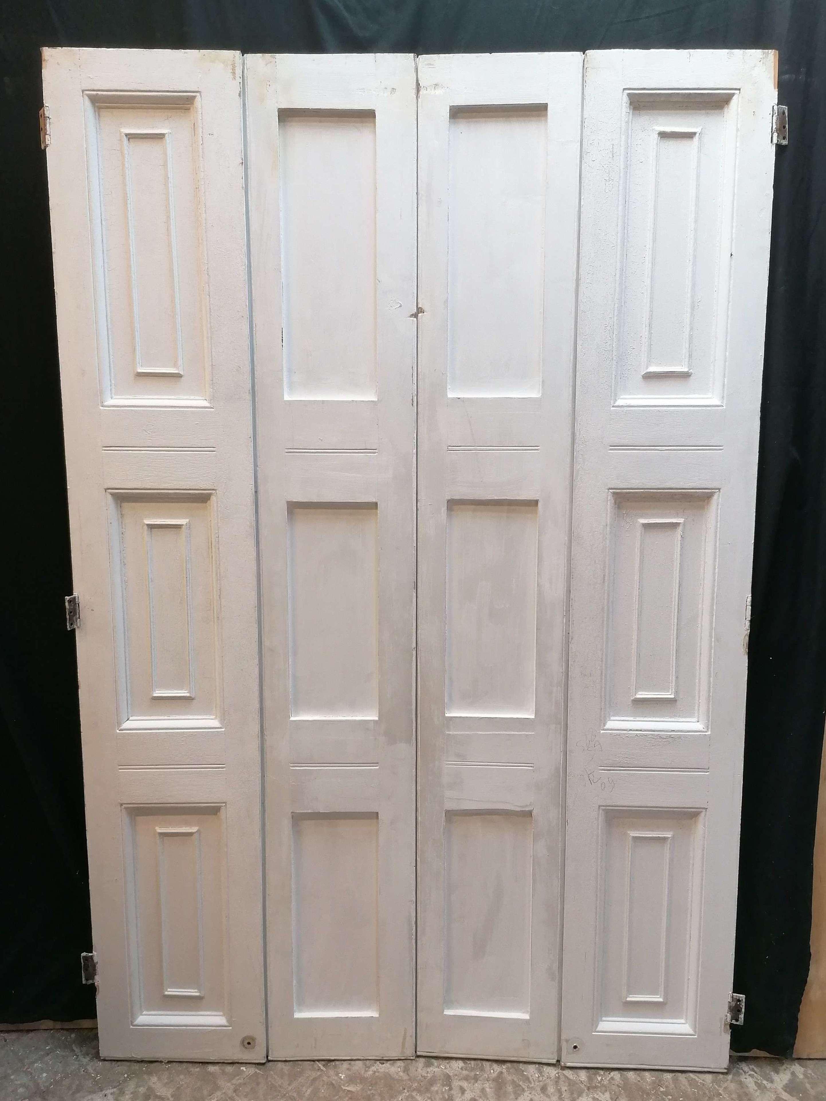 CS0066 PAIR OF RECLAIMED VICTORIAN PAINTED PINE WINDOW SHUTTERS