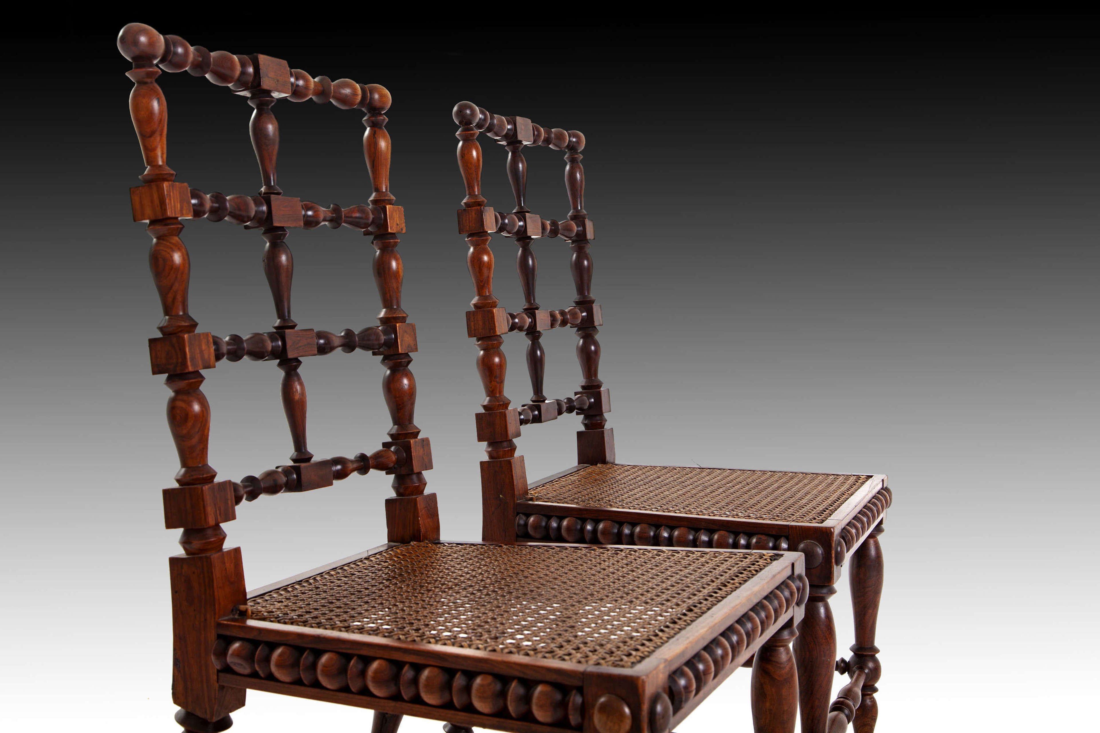 A Pair of turned rosewood side chairs