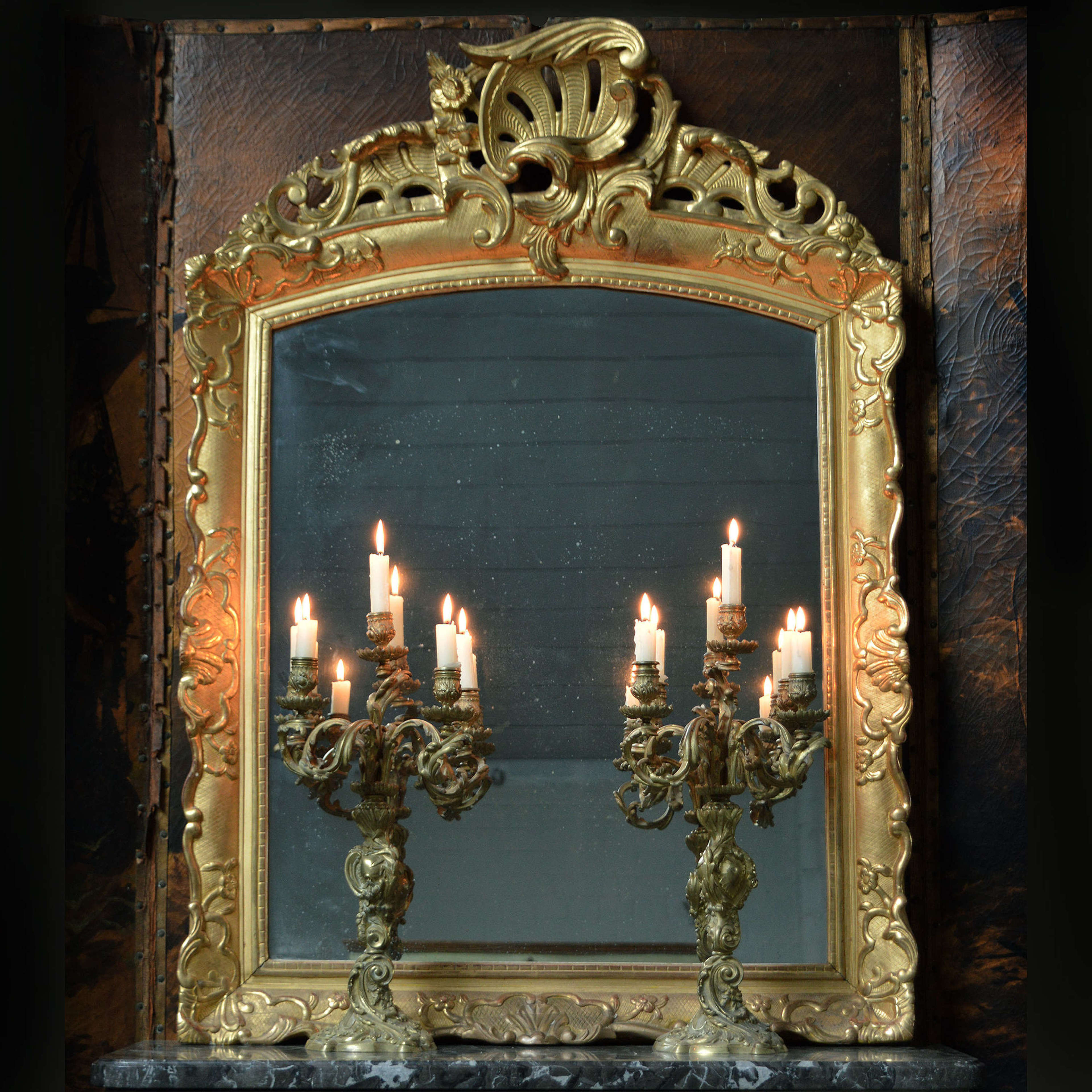 18th Century Louis XV period Gilt wood mirror