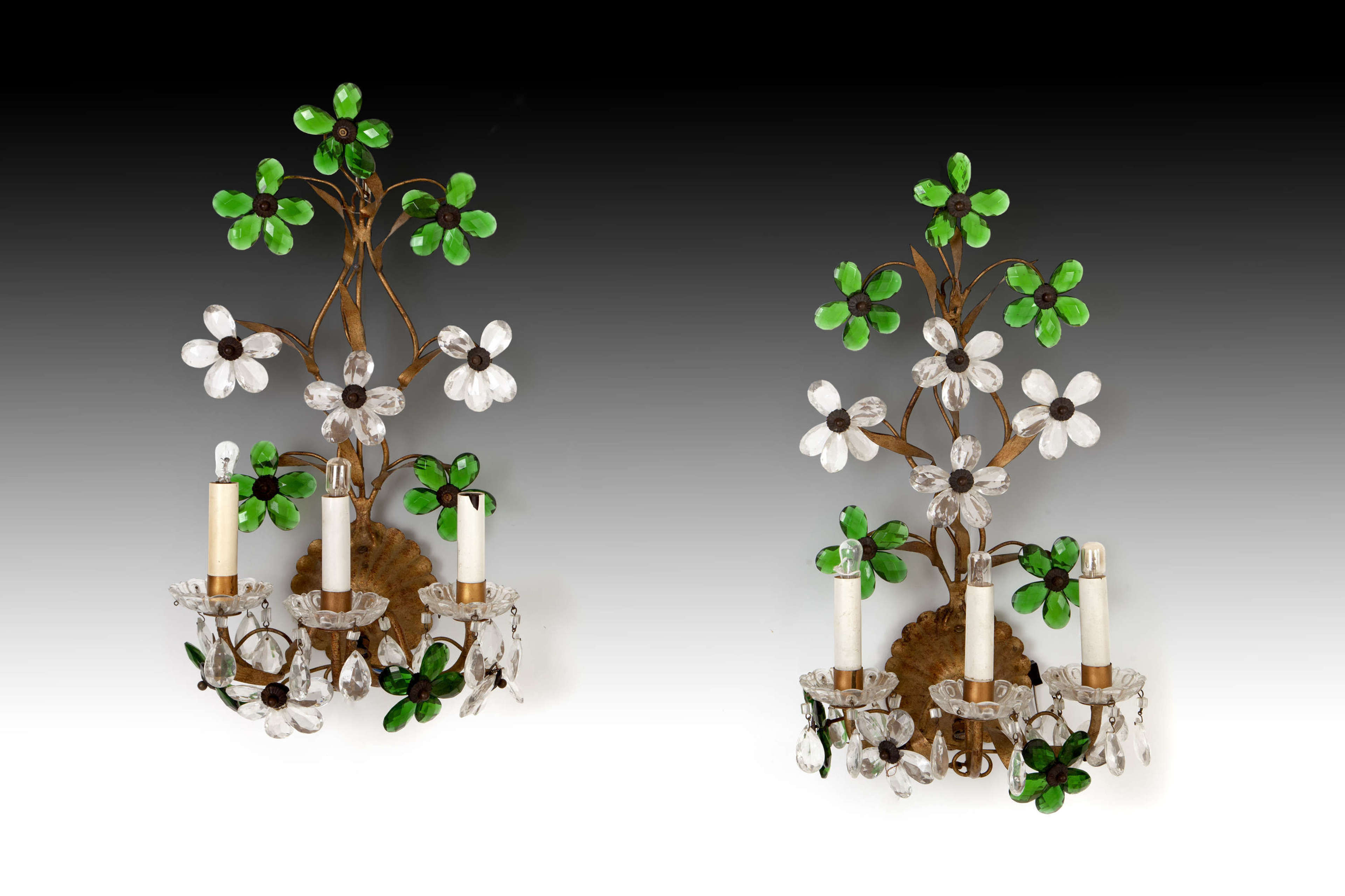 Pair of Emerald and Clear glass wall lights
