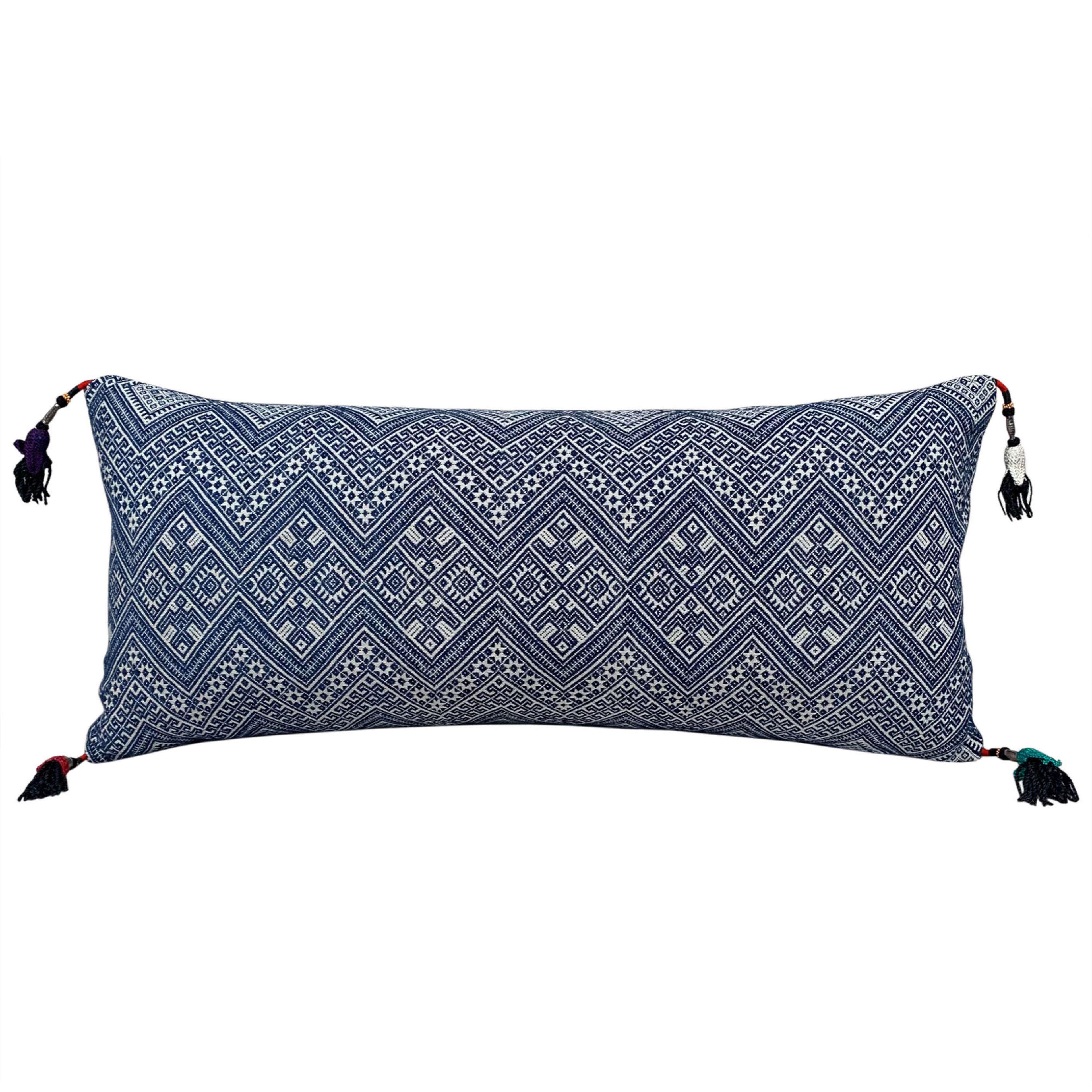 Indigo Dong cushions with Uzbek tassels